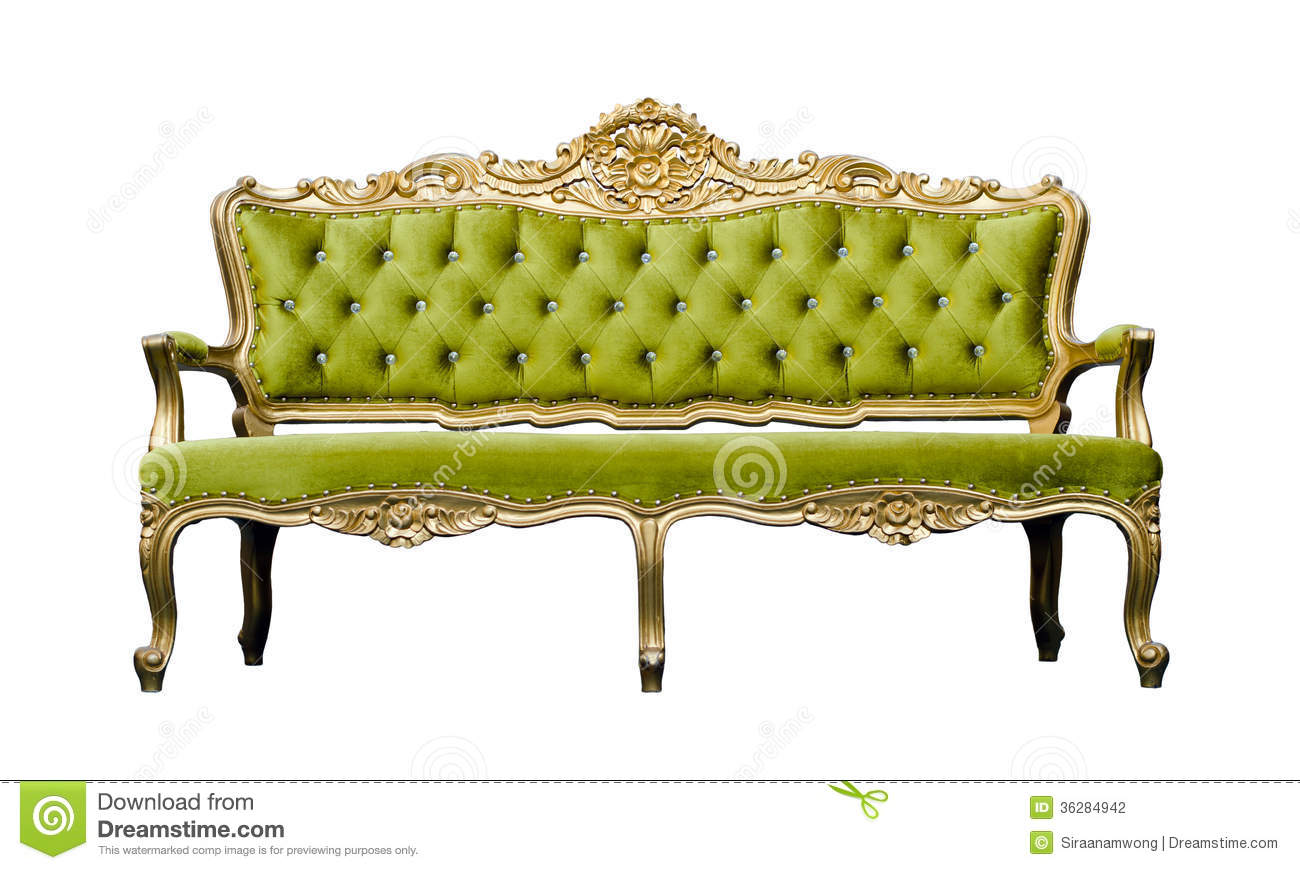 Vintage Luxury Green Sofa Armchair Isolated On White Stock Photography Image 36284942
