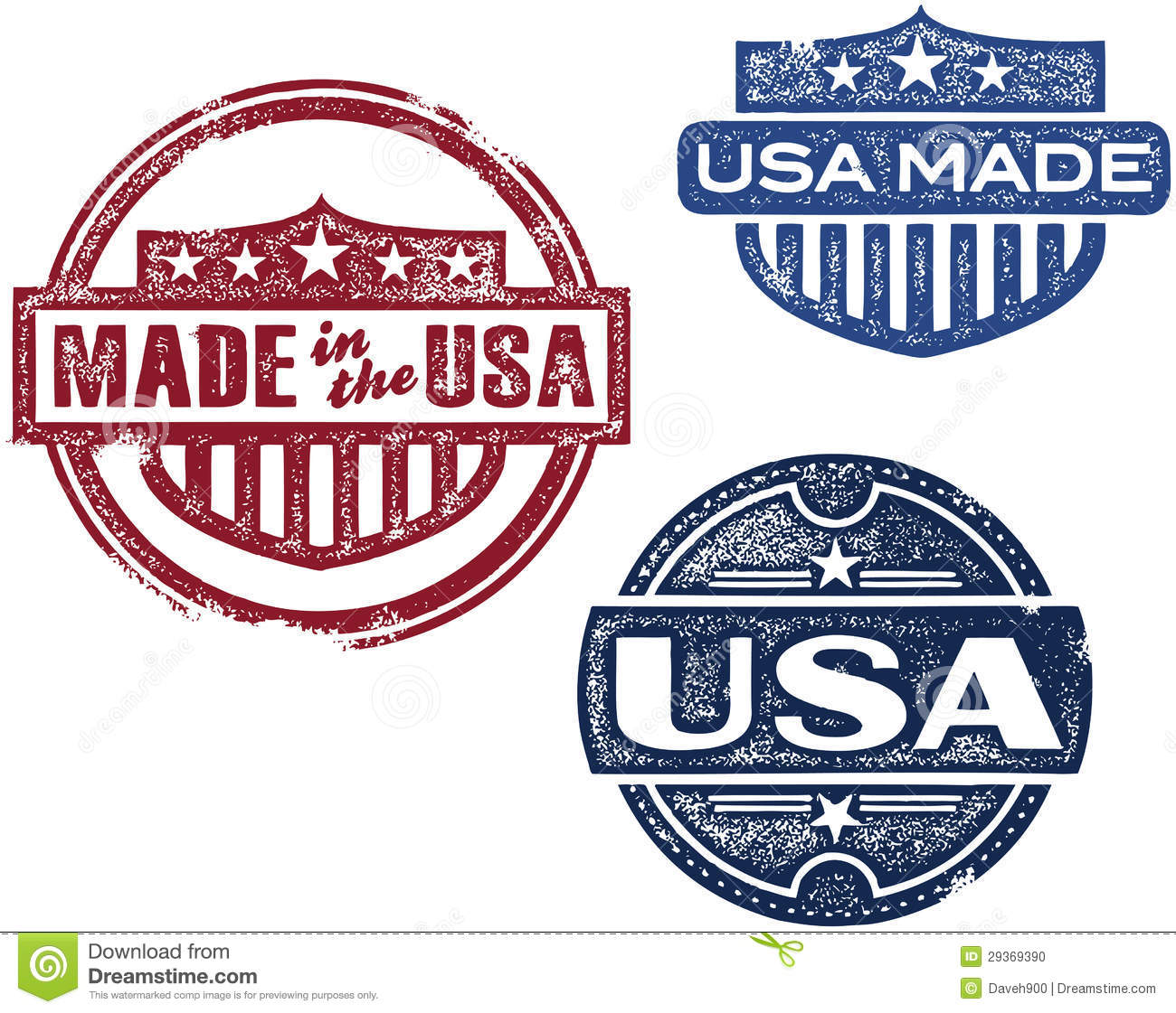 Vintage Made In Usa Stamps Stock Vector Illustration Of