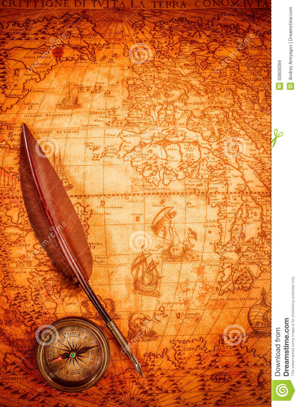Vintage Magnifying Glass Lies On An Ancient World Map ...