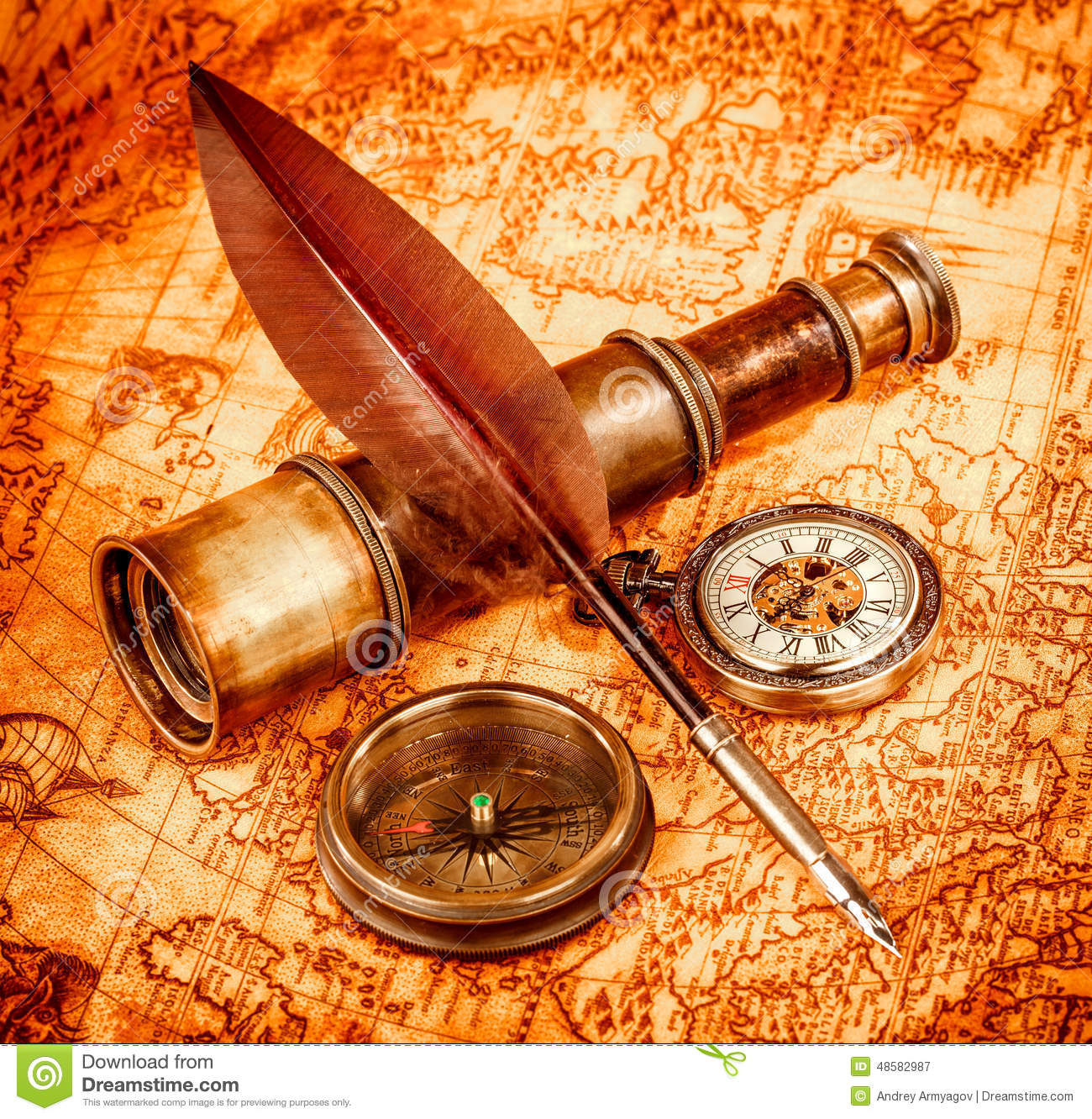 Vintage magnifying glass lies on an ancient world map stock image vintage magnifying glass lies on an ancient world map sciox Gallery