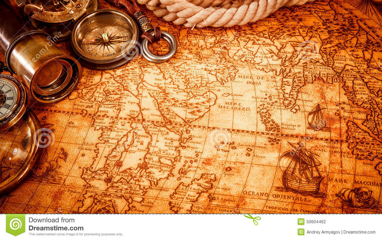 Vintage magnifying glass lies on an ancient world map stock photo download comp gumiabroncs Gallery