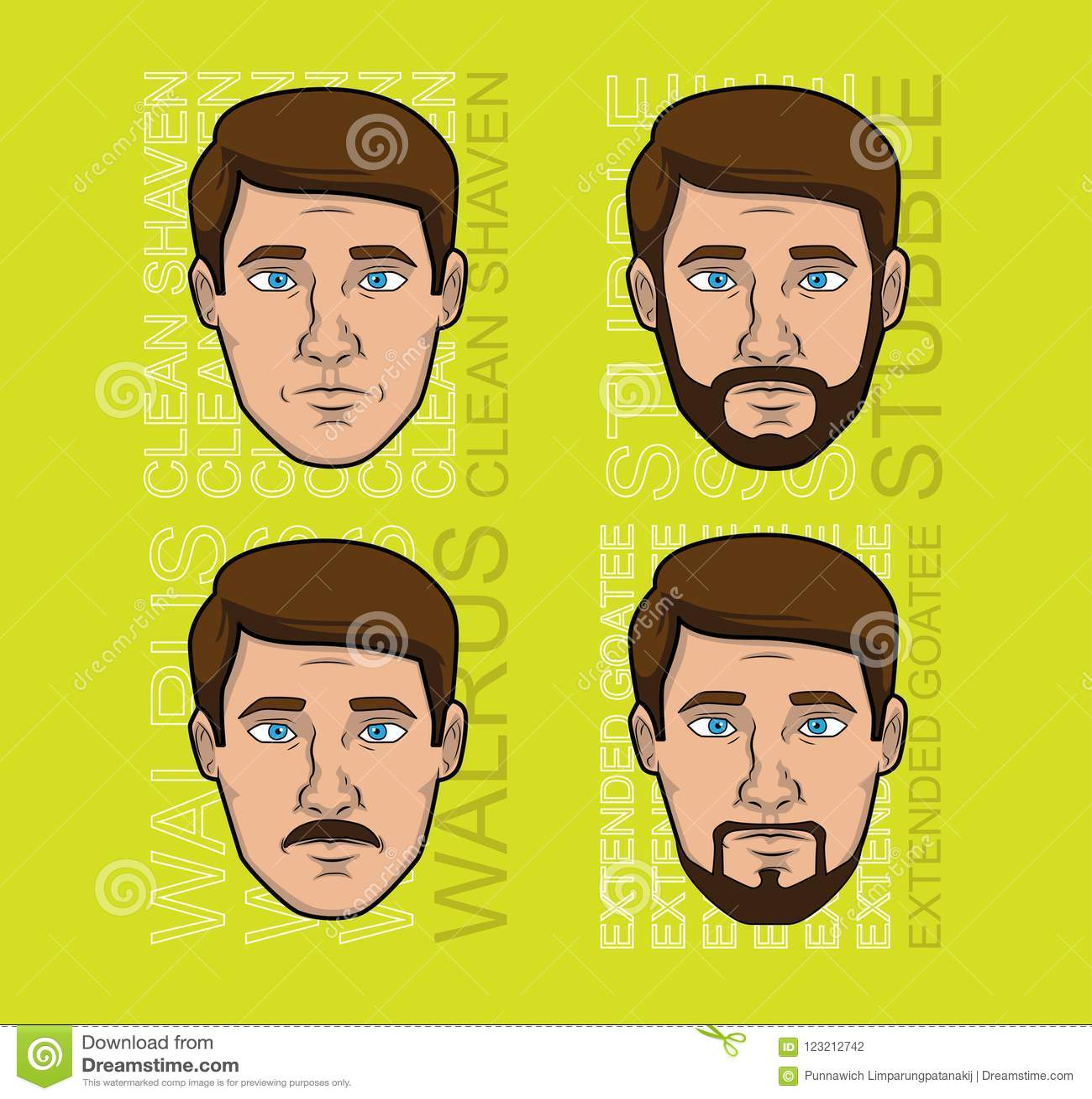 Vintage Man Beard Style Cartoon Vector Set Stock Vector