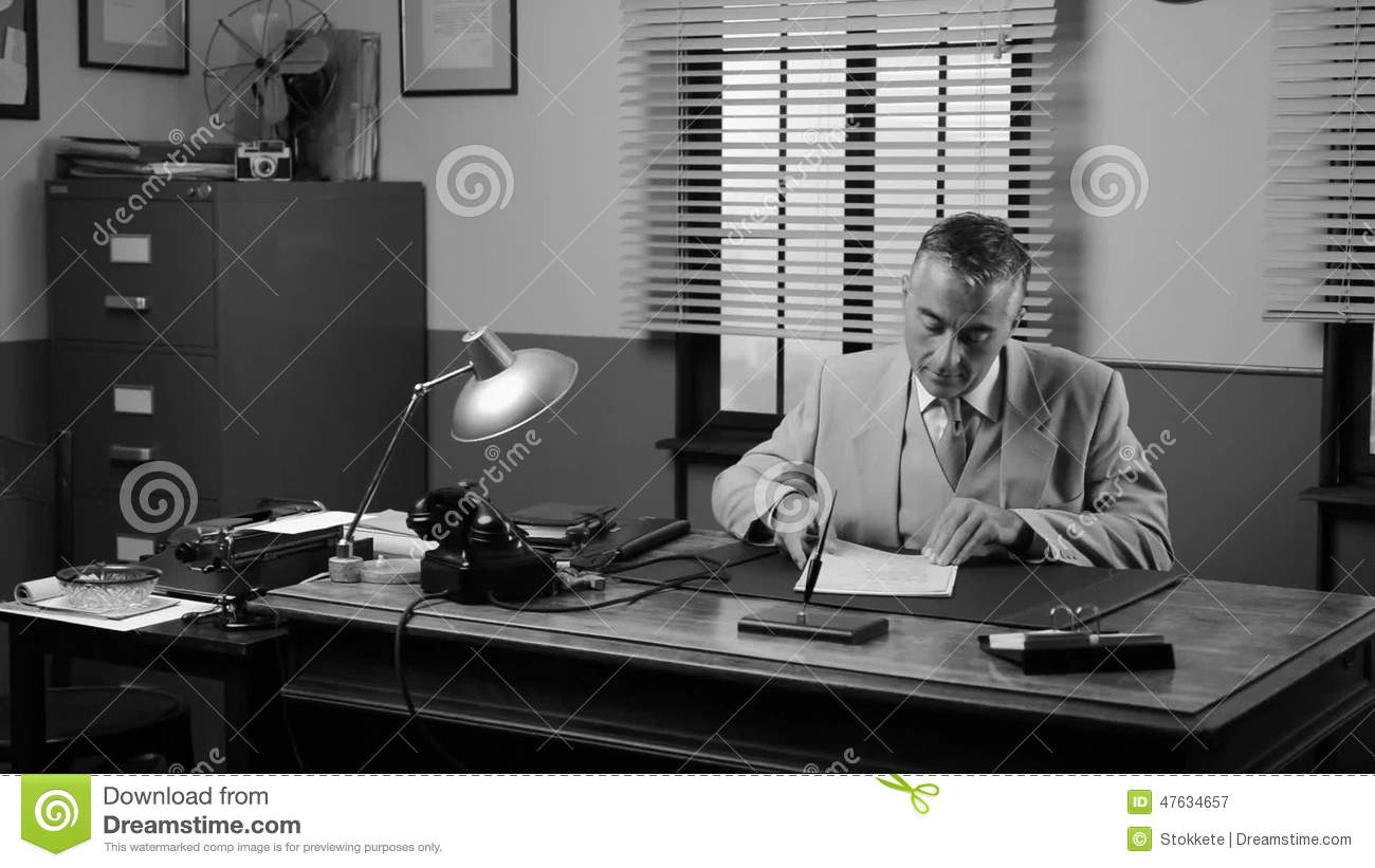 Vintage Manager Working At Desk Stock Video   Video Of Positivity, Collar:  47634657