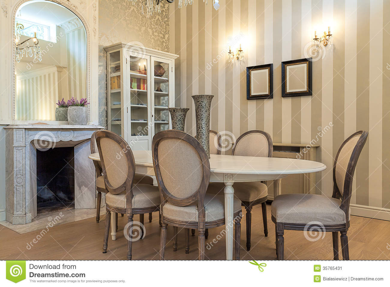 Vintage Mansion Dining Table Stock Image Image 35765431