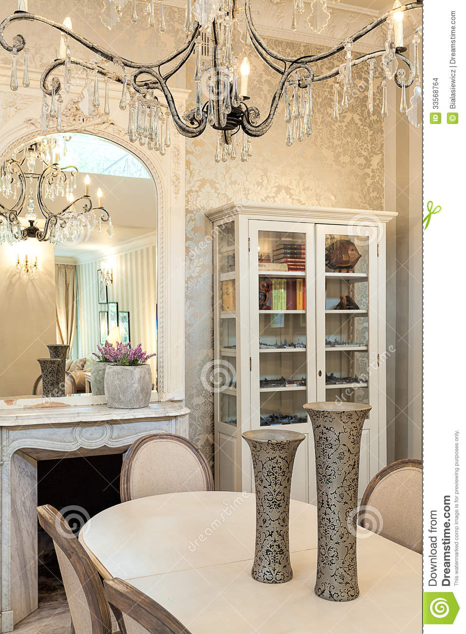 Vintage Mansion Dinner Table And Chandelier Stock Photo Image 33568764