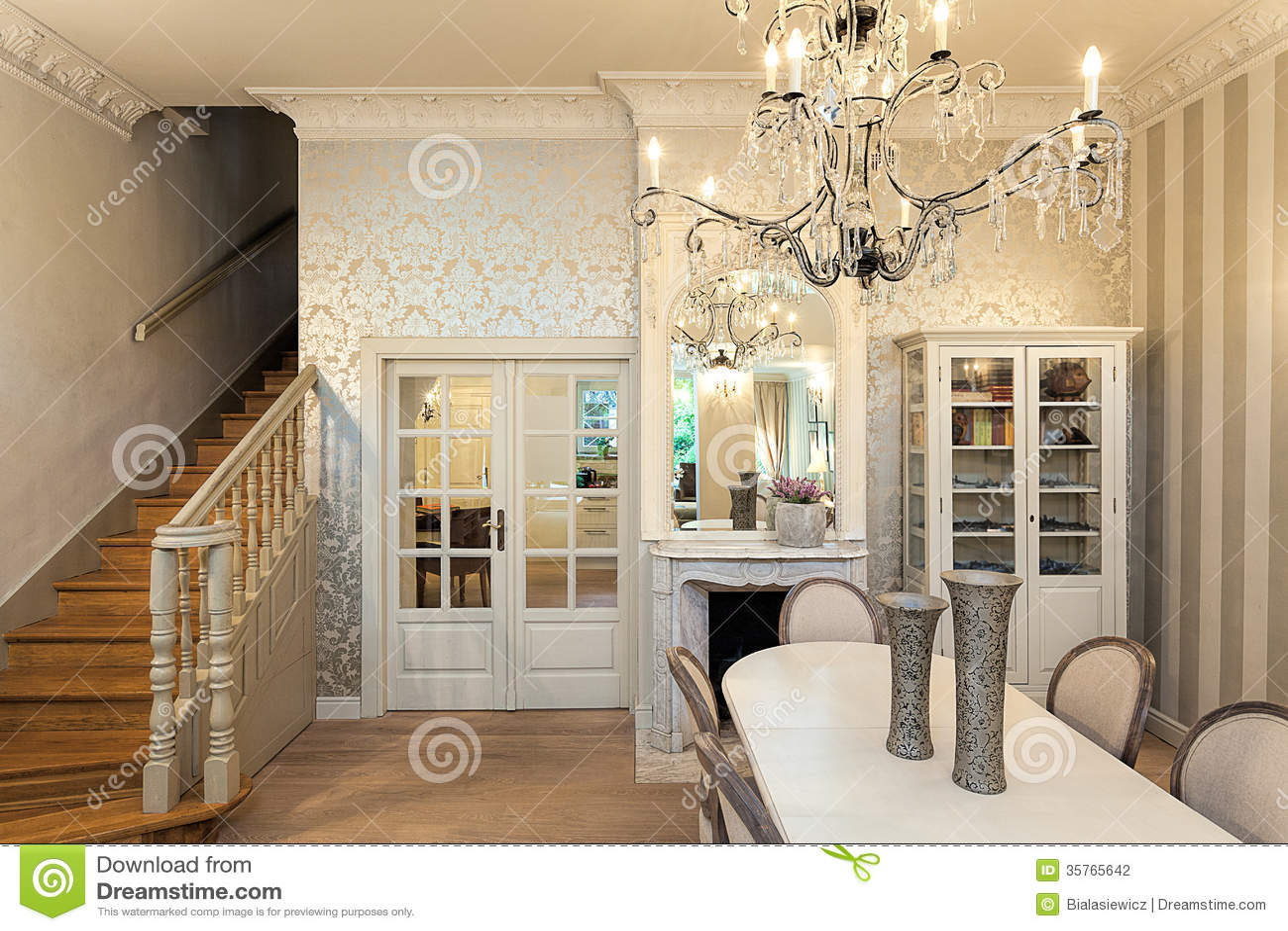 Vintage Mansion Luxurious Interior Stock Photo Image