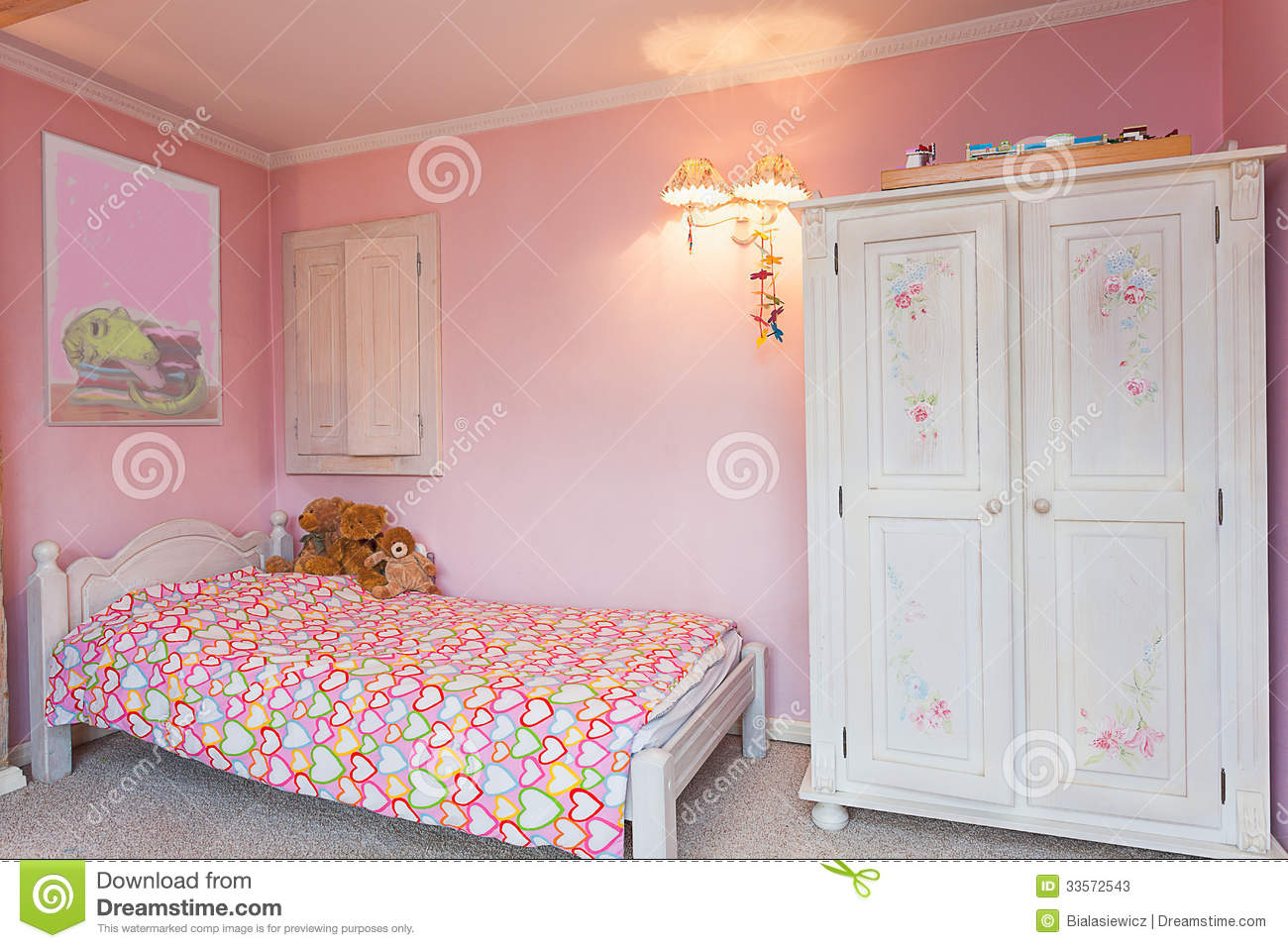 Vintage Mansion - Pink Bedroom Stock Image - Image of cute ...