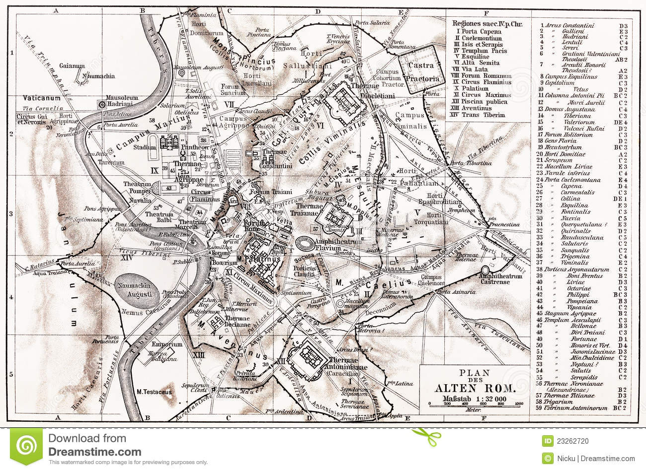 Vintage Map Of Ancient Rome Stock Photo Image - Rome map download