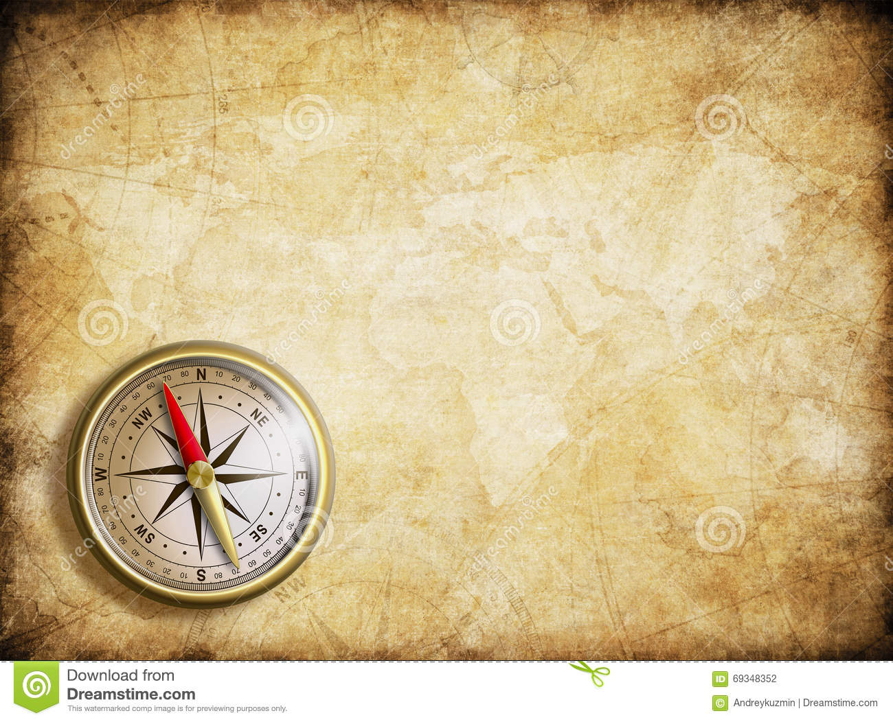Vintage Map Background With Compass Stock Illustration ...