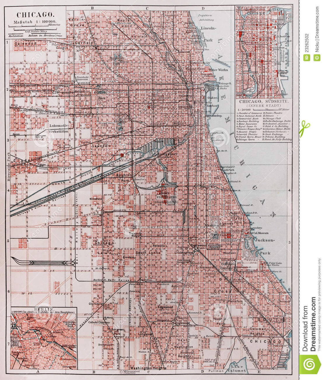 Vintage Map Of Chicago Stock Photography  Image 23262502