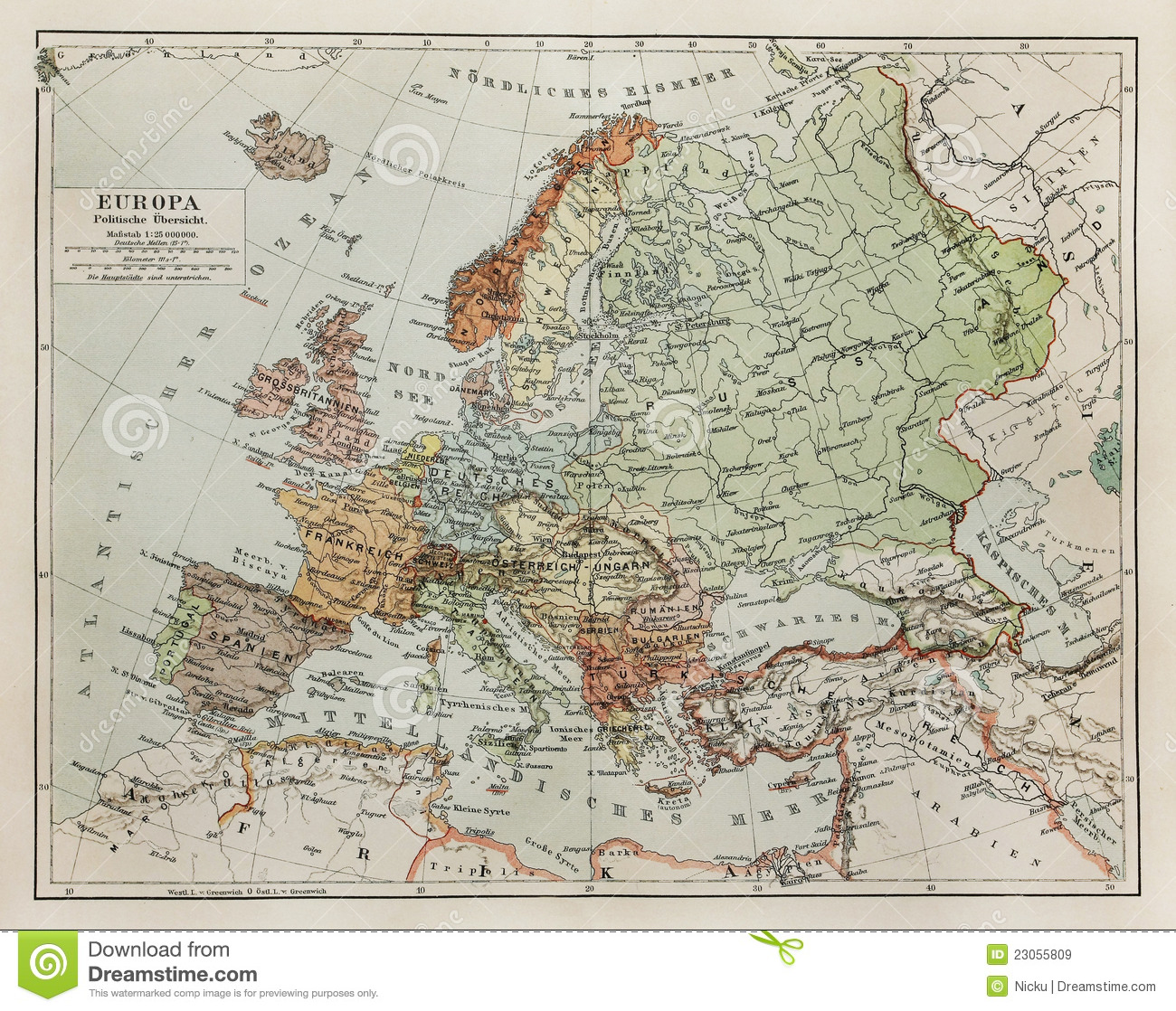 Vintage Map Of Europe At The End Of 19th Century Stock Image