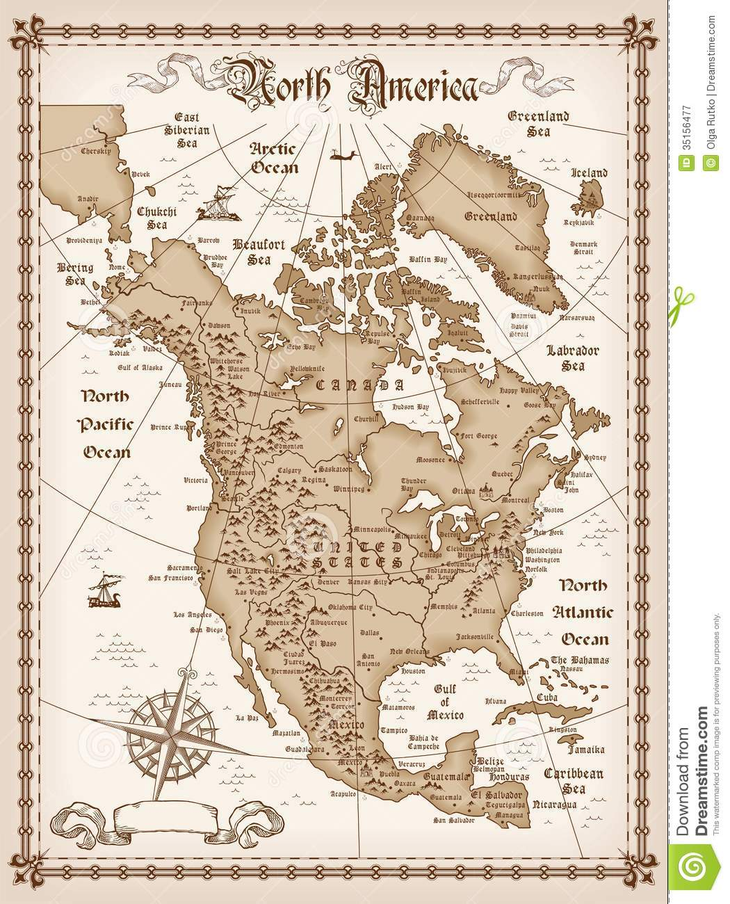 Vintage Map Of North America Royalty Free Stock Photography - Map of n america