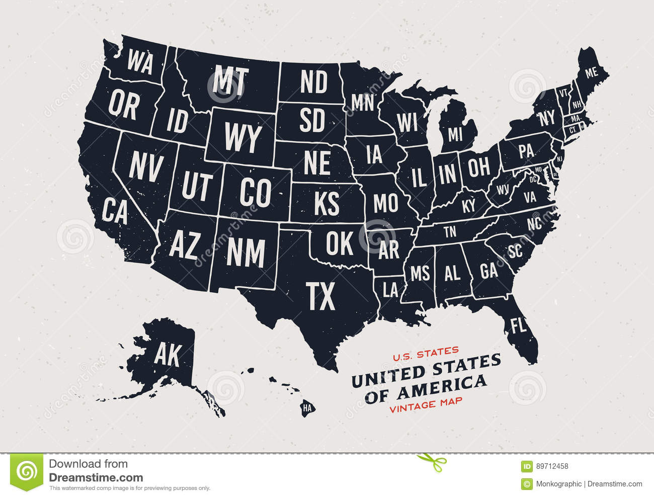 Vintage Map Of United States Of America 50 States. Stock Vector