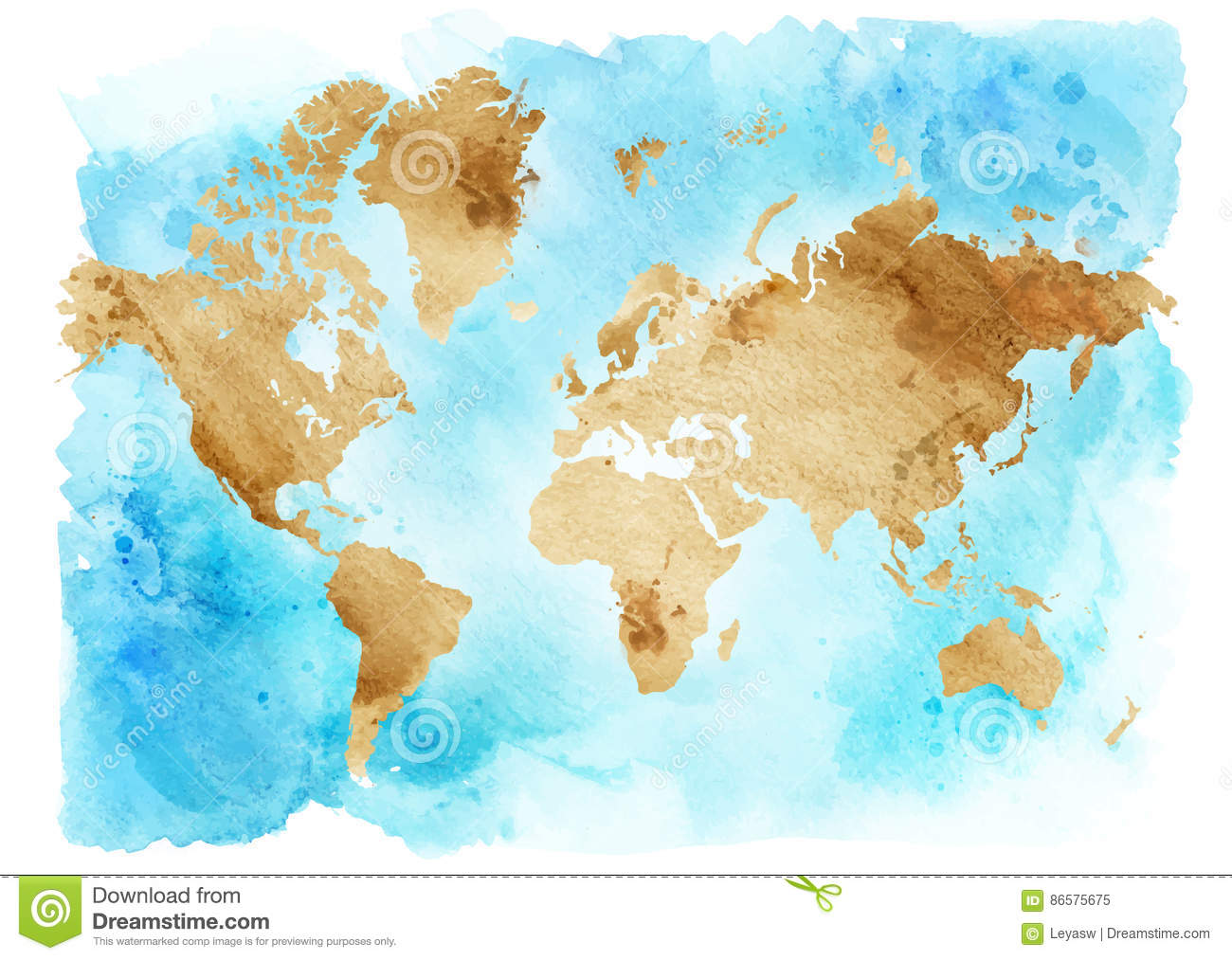 Vintage Map Of The World On A Blue Background. Watercolor ...