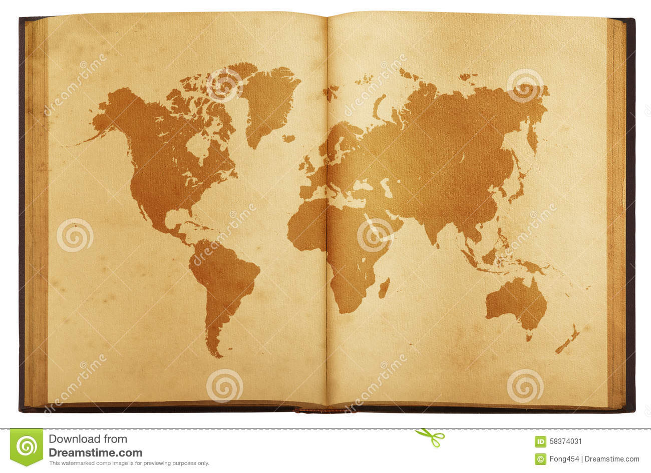 Vintage map of the world on old book isolated on white background royalty free stock photo gumiabroncs Image collections
