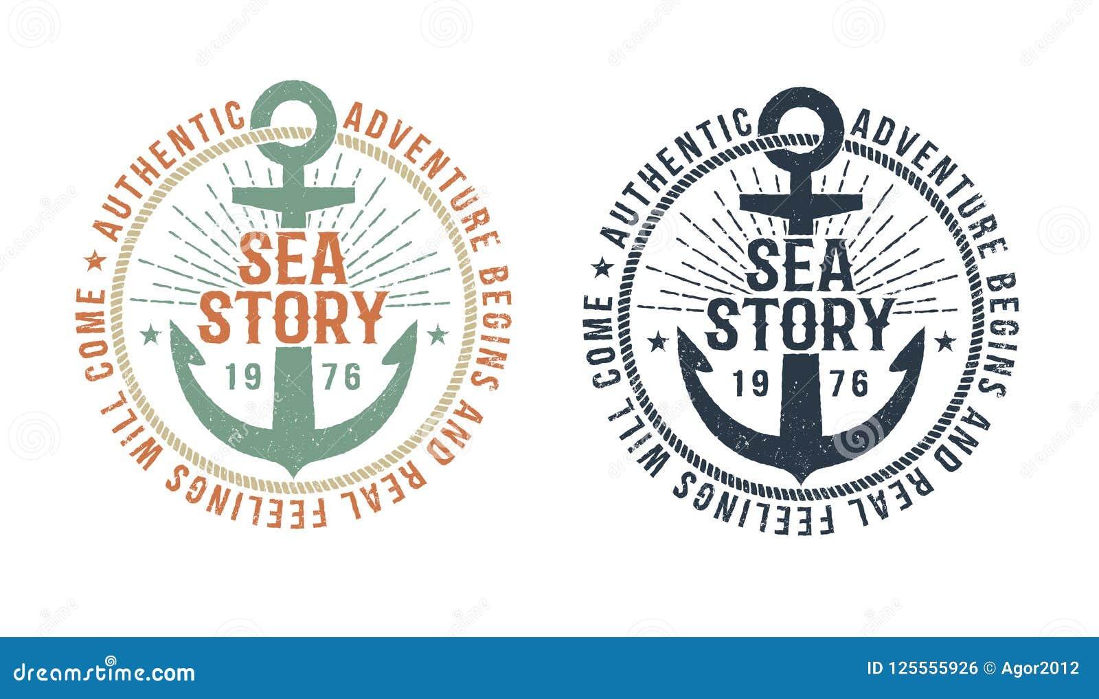 Vintage marine logo, tattoo with anchor