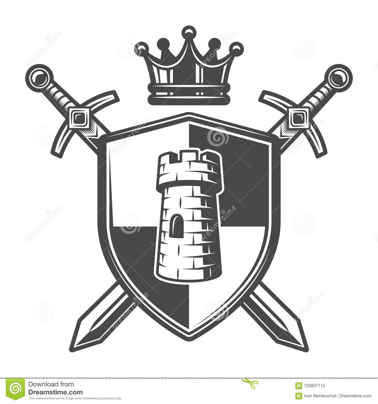 vintage medieval coat of arms template stock vector illustration