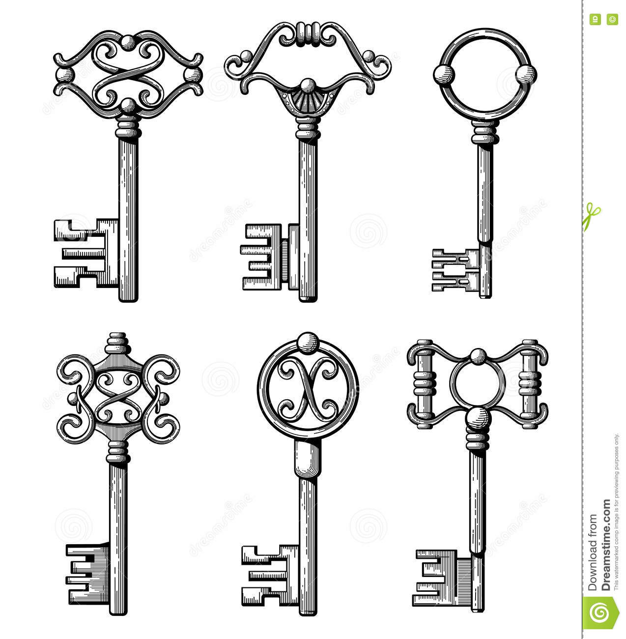 collection of antique and modern keys illustration. Black Bedroom Furniture Sets. Home Design Ideas
