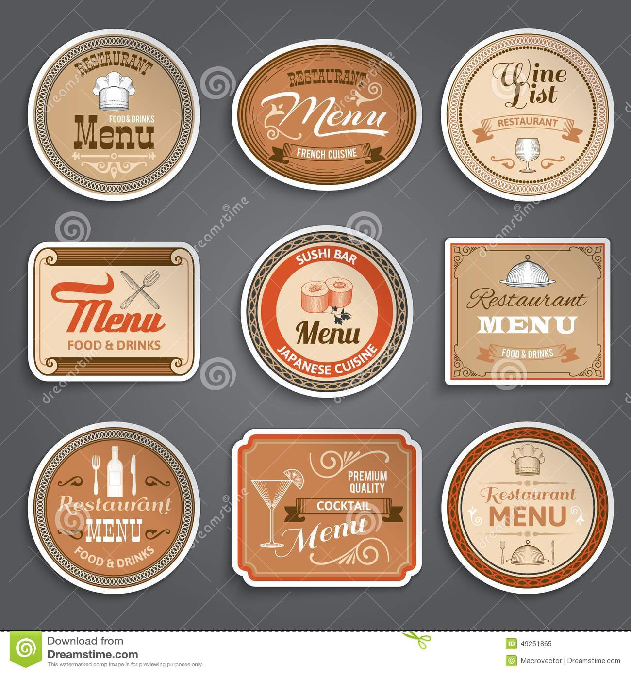 Vintage menu labels stock vector image of product