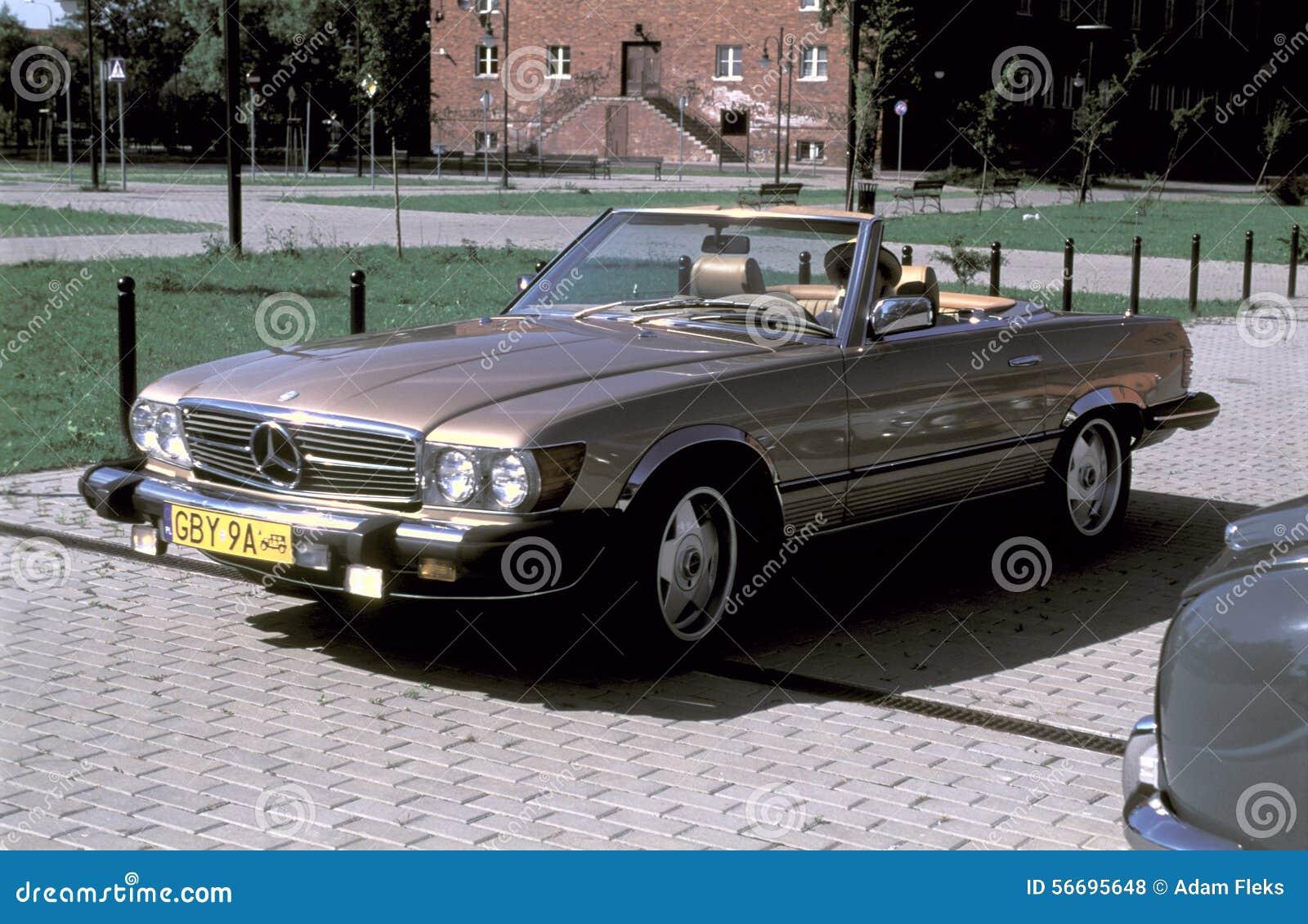 vintage mercedes 380 sl cabrio editorial stock photo. Black Bedroom Furniture Sets. Home Design Ideas