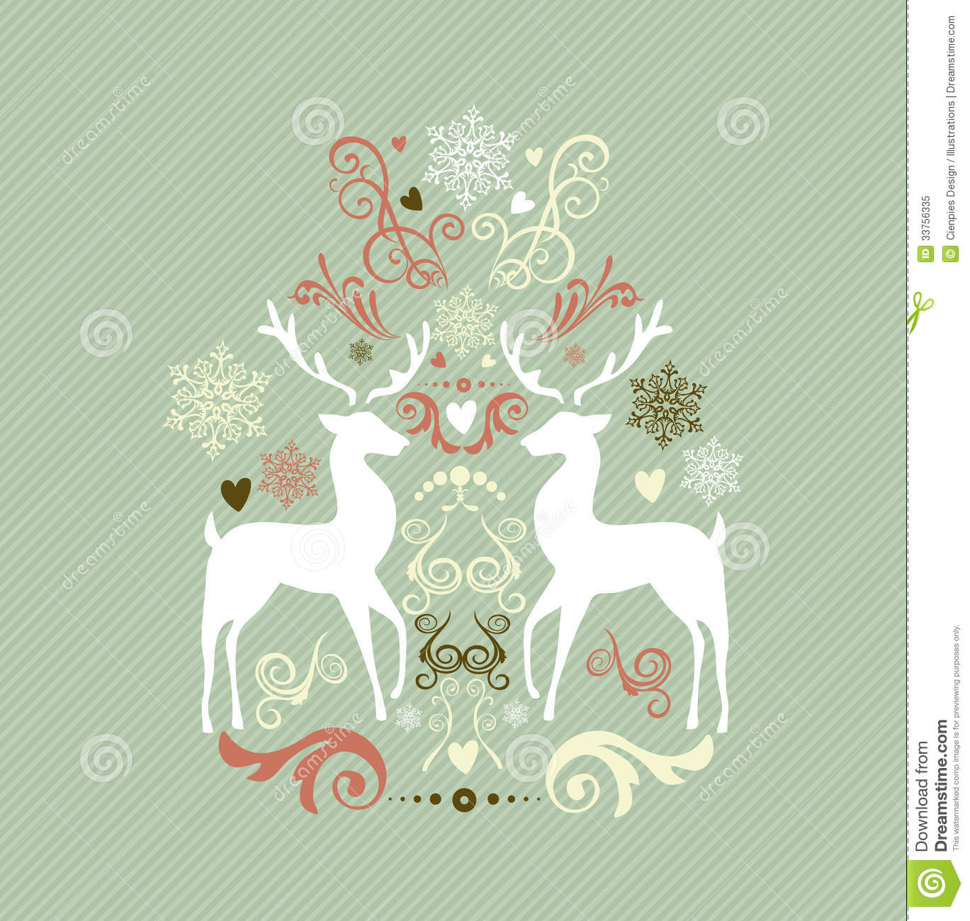 Retro Merry Christmas illustration with reindeers and winter elements ...