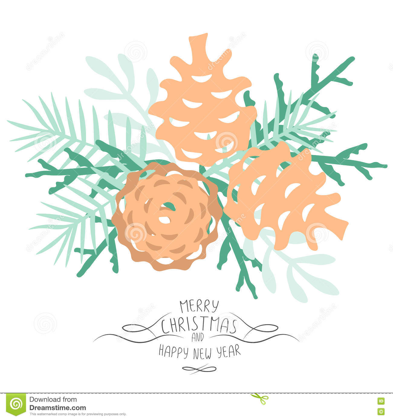 vintage merry christmas and happy new year background pine cones and spruce twigs stylish vector illustration on winter greeting card