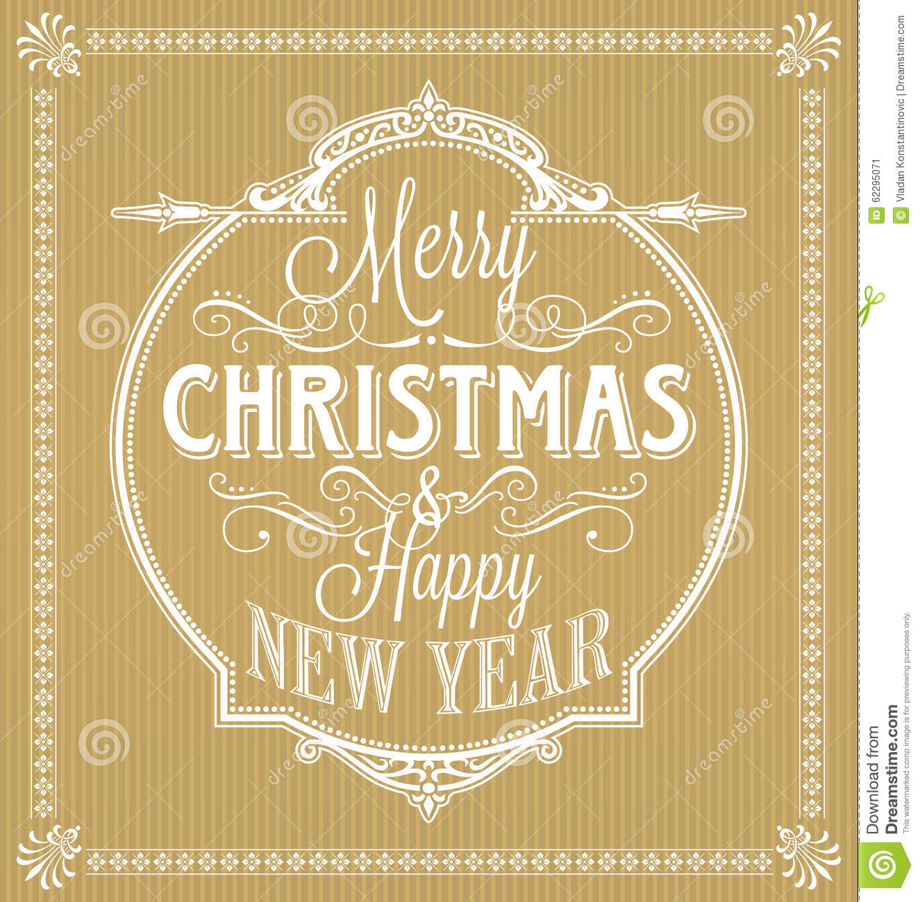 Vintage Merry Christmas And Happy New Year Calligraphic