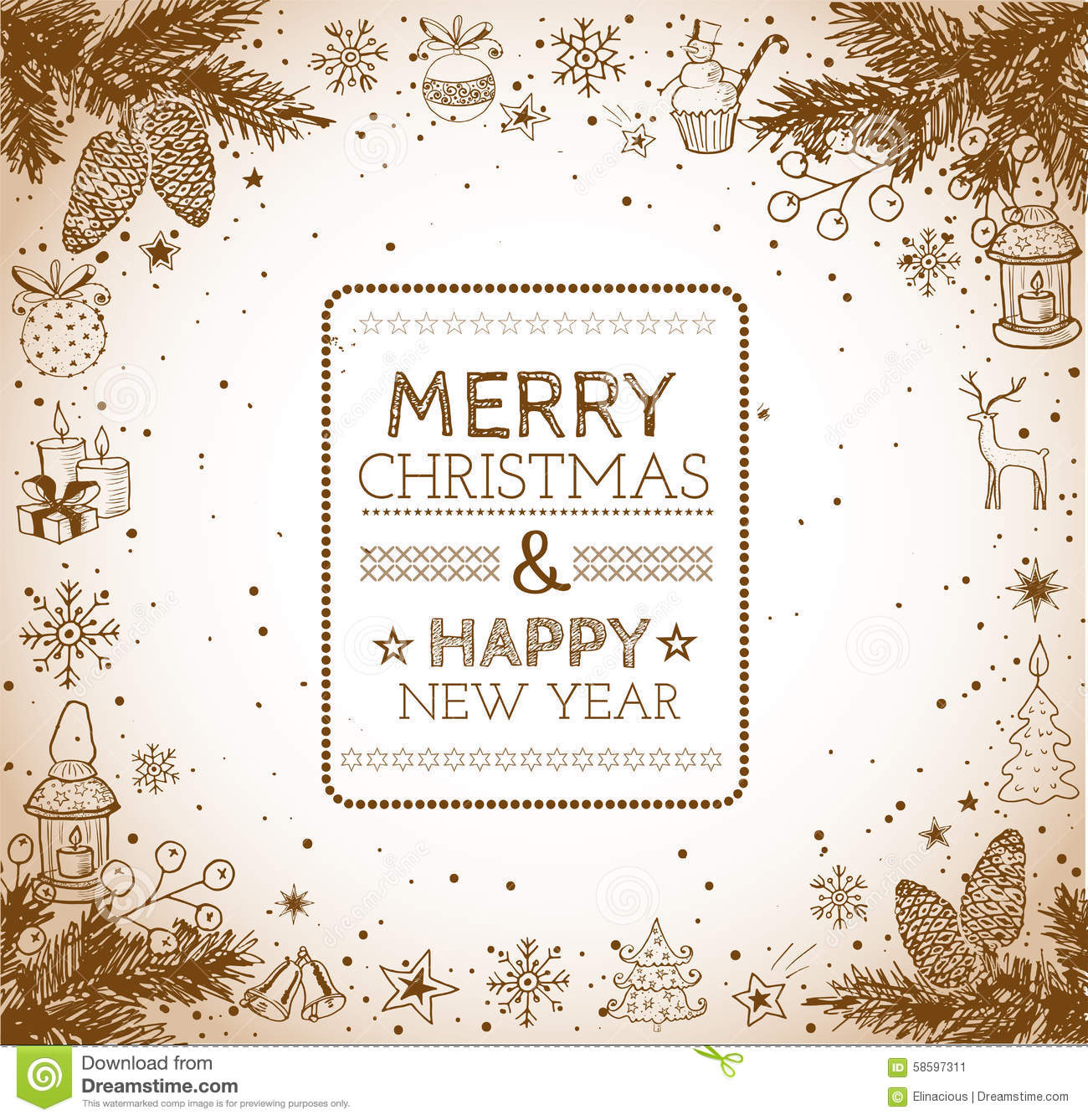 vintage merry christmas and happy new year card stock vector
