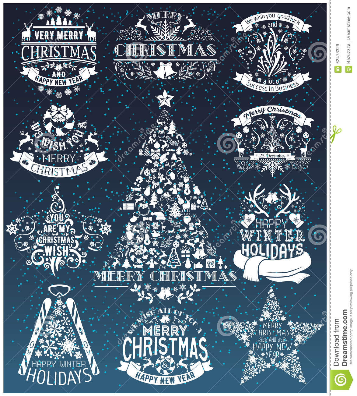 Vintage Merry Christmas And Happy New Year collection of labels
