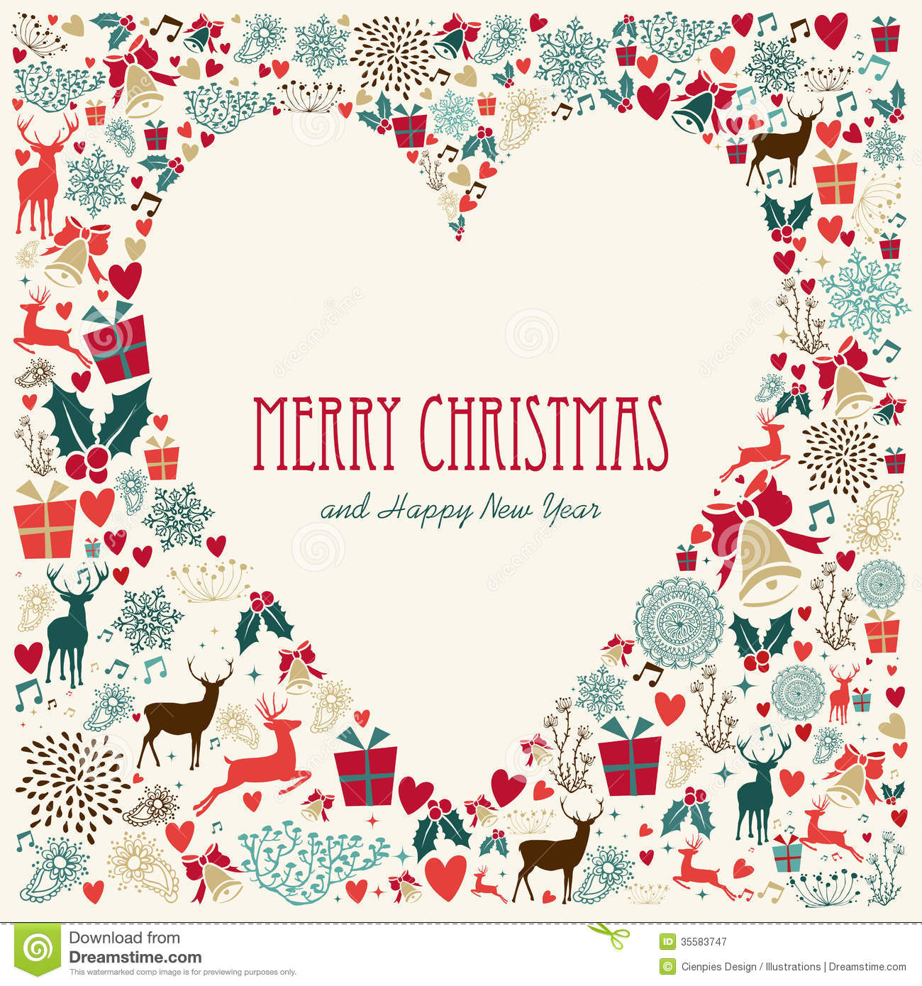 Vintage Merry Christmas Love Heart Card Stock Vector - Illustration ...