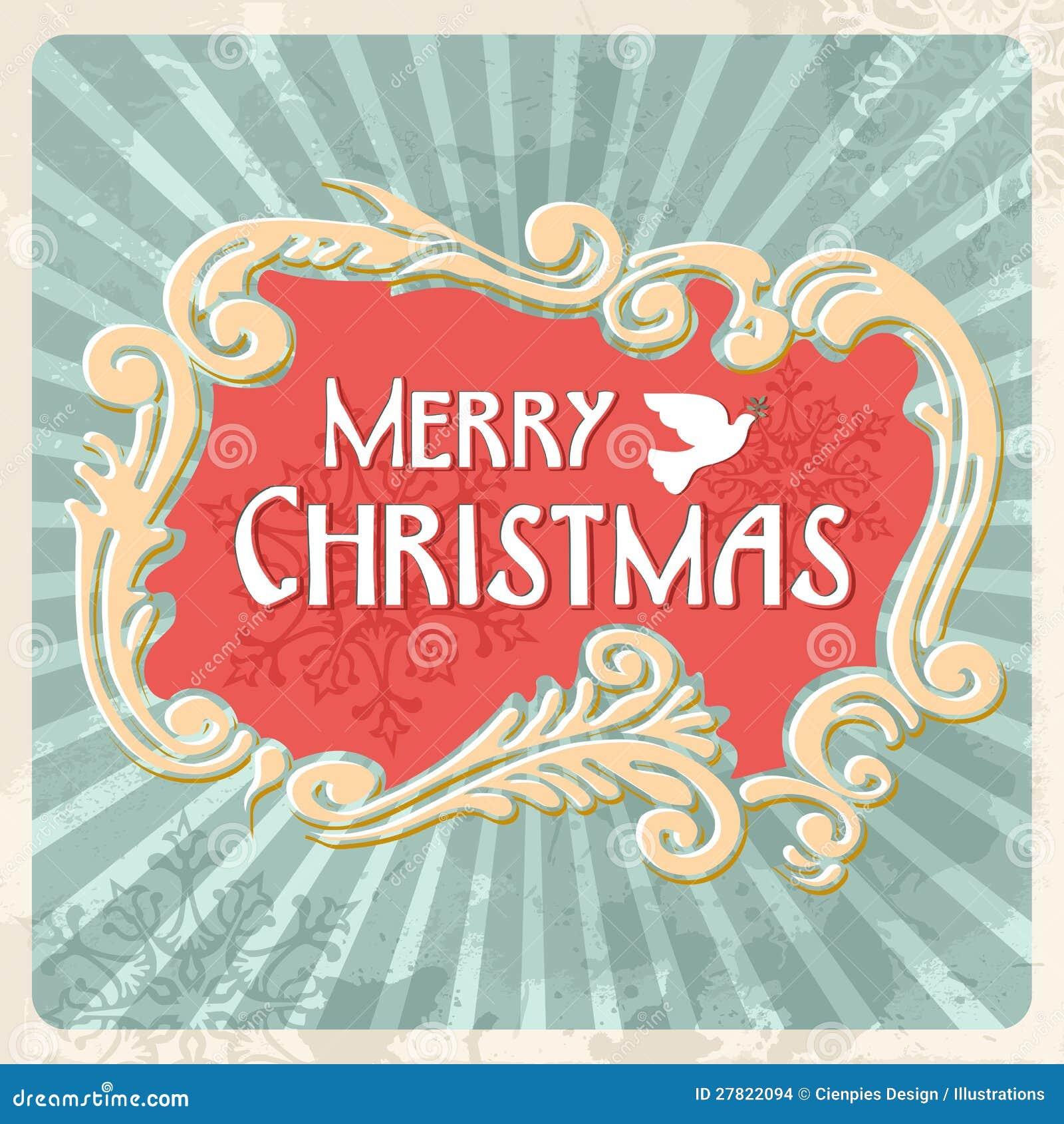vintage merry christmas sign postcard stock images image 27822094. Black Bedroom Furniture Sets. Home Design Ideas