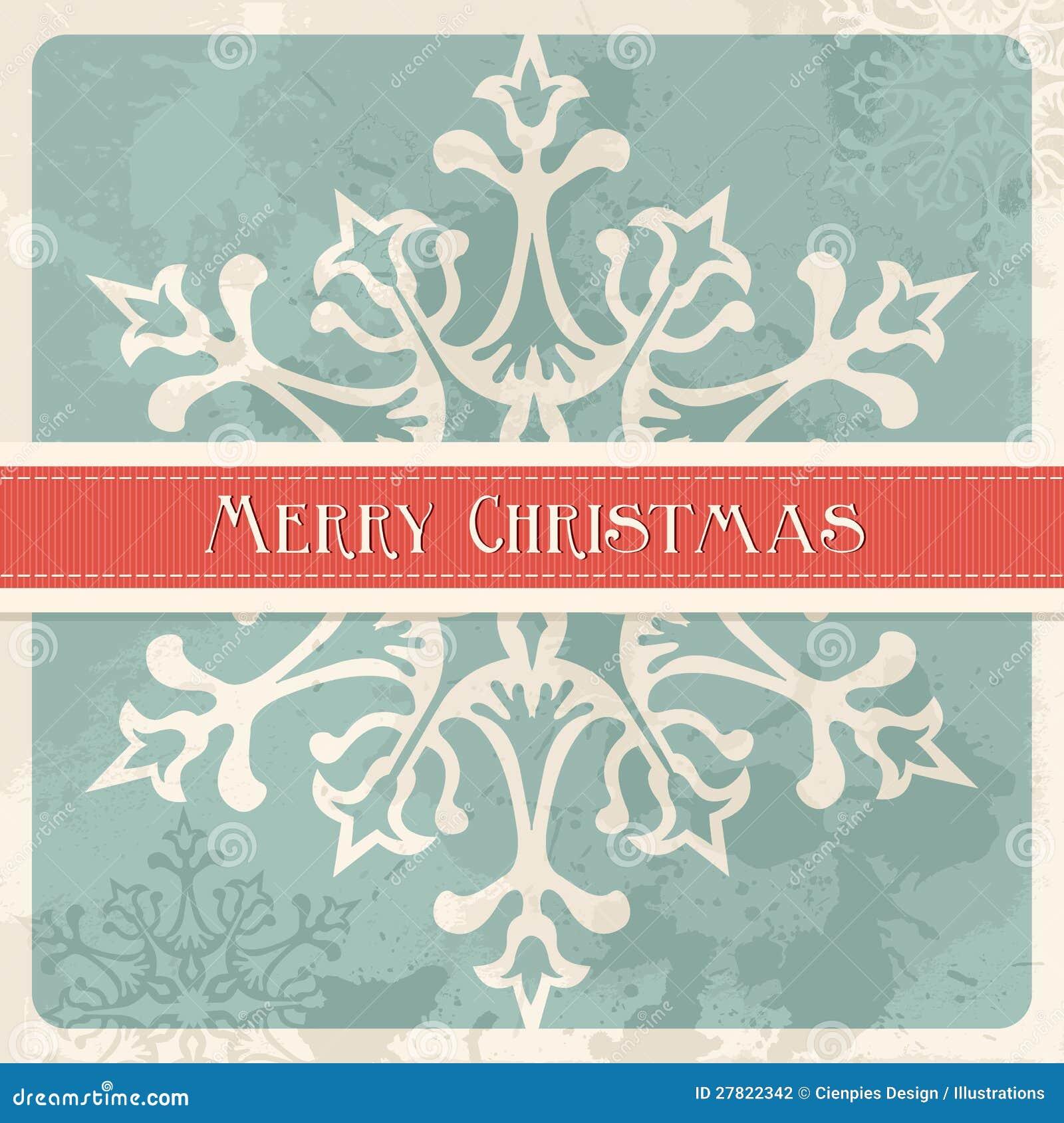 Vintage Merry Christmas Snowflake Postcard Stock Photography ...