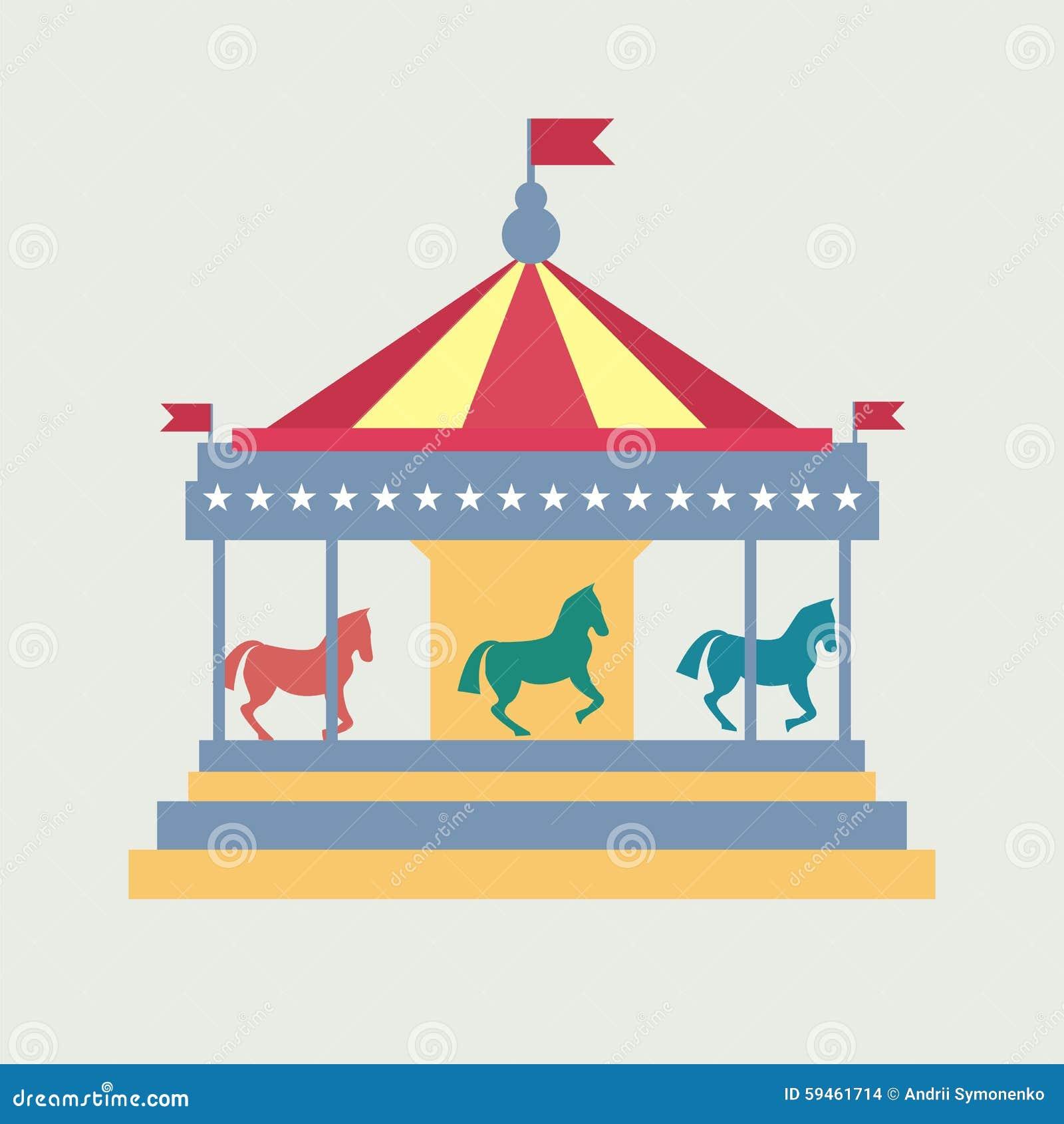 merry go round horse template - vintage merry go round carousel vector stock vector