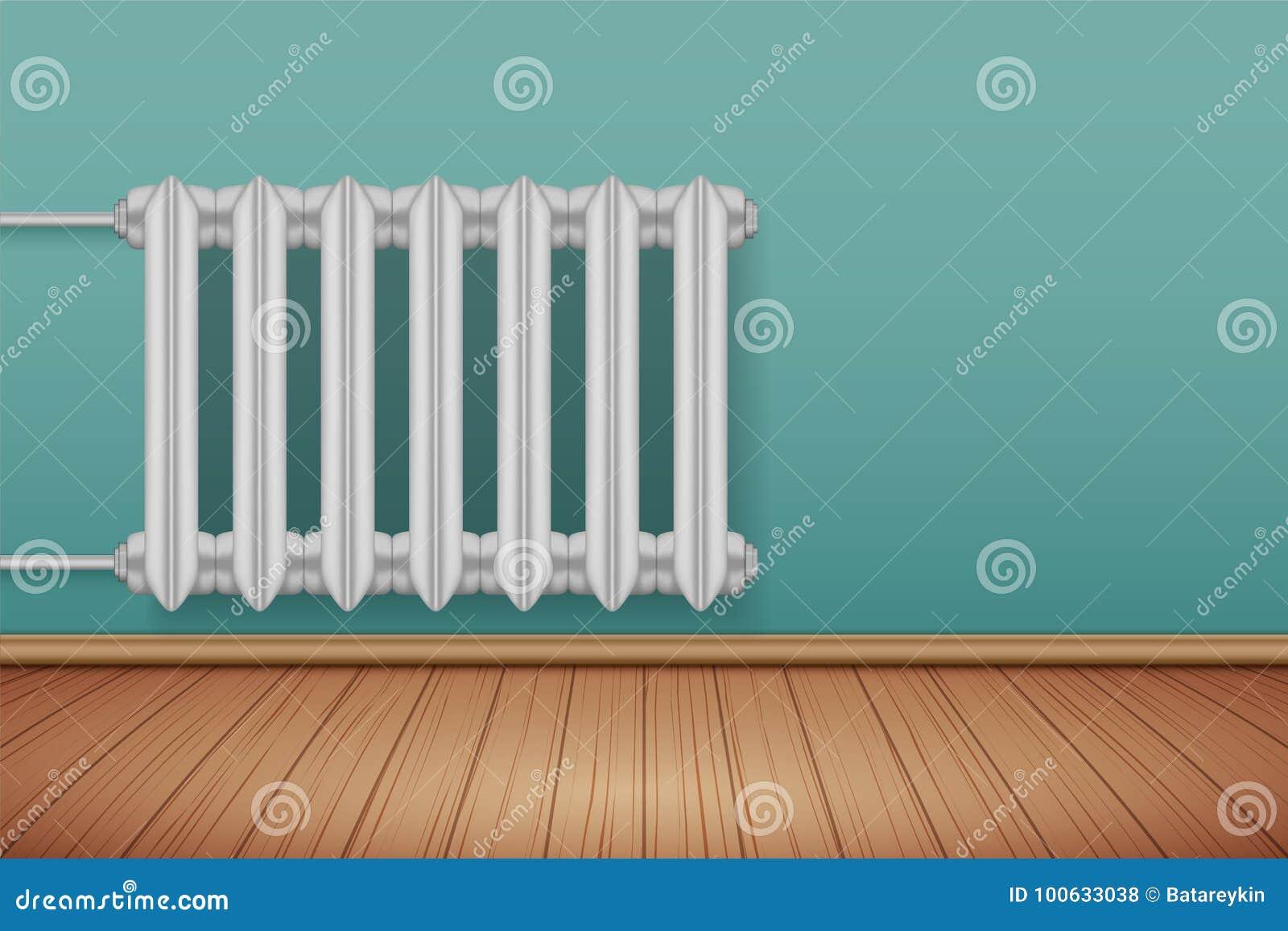 Vintage Metal Heating Radiator In Room Stock Vector - Illustration ...