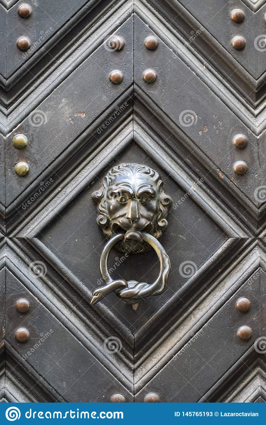 Vintage metal lion head shapped door knob with knocking ring