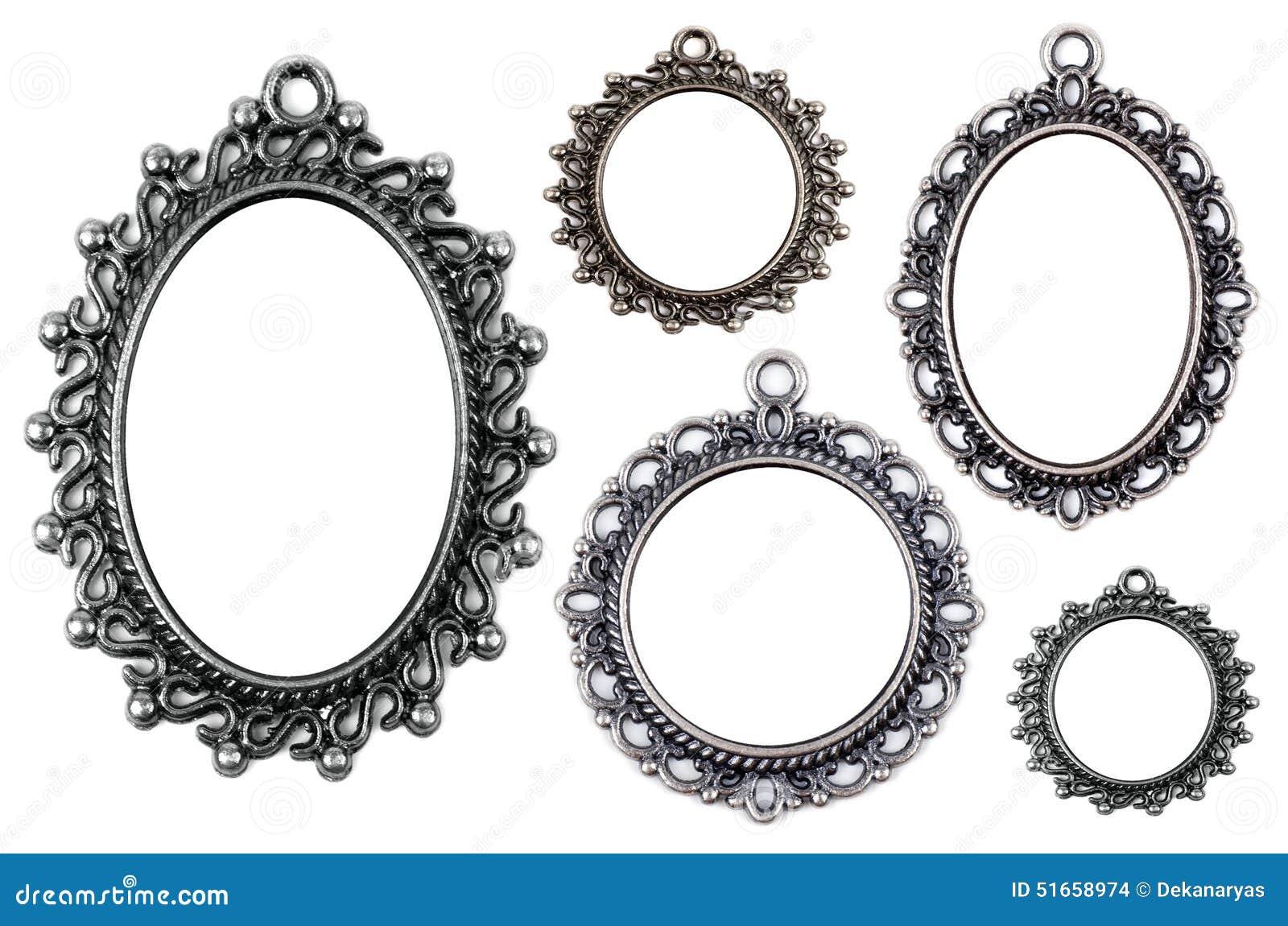 Vintage Metal Medallion Frames Isolated Stock Photo