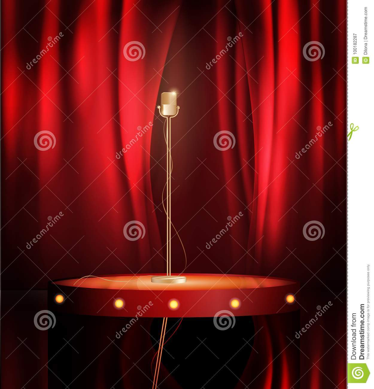 Download Vintage Metal Microphone On Stage With Red Curtain Backdrop Mic Empty Theatre