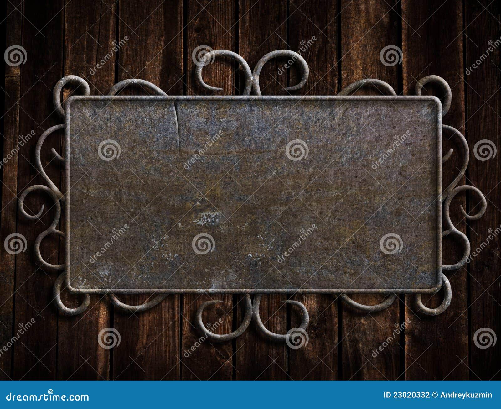 vintage metal plate on old oak door stock photography. Black Bedroom Furniture Sets. Home Design Ideas
