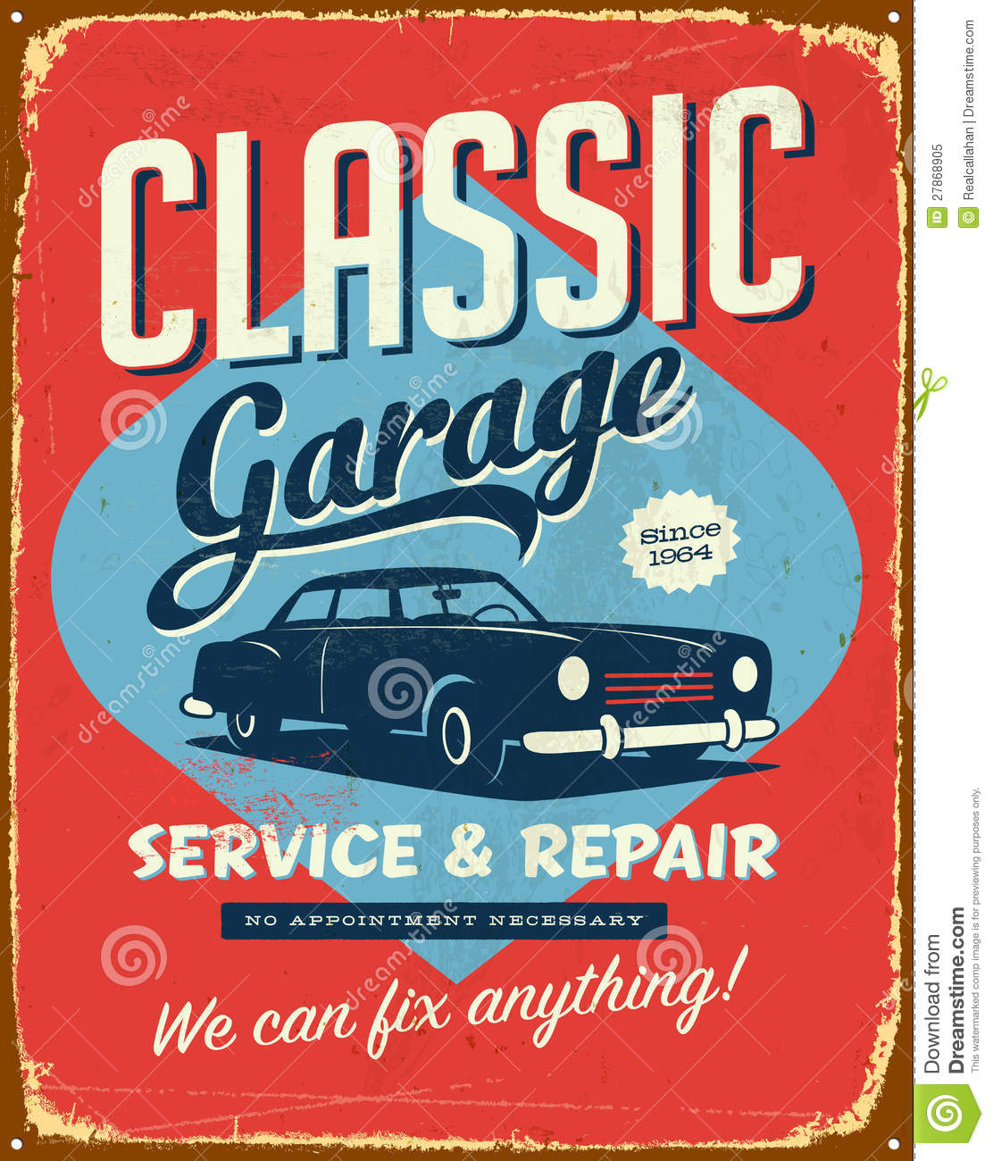 Vintage Tin Sign Automotive : Vintage metal sign royalty free stock photo image