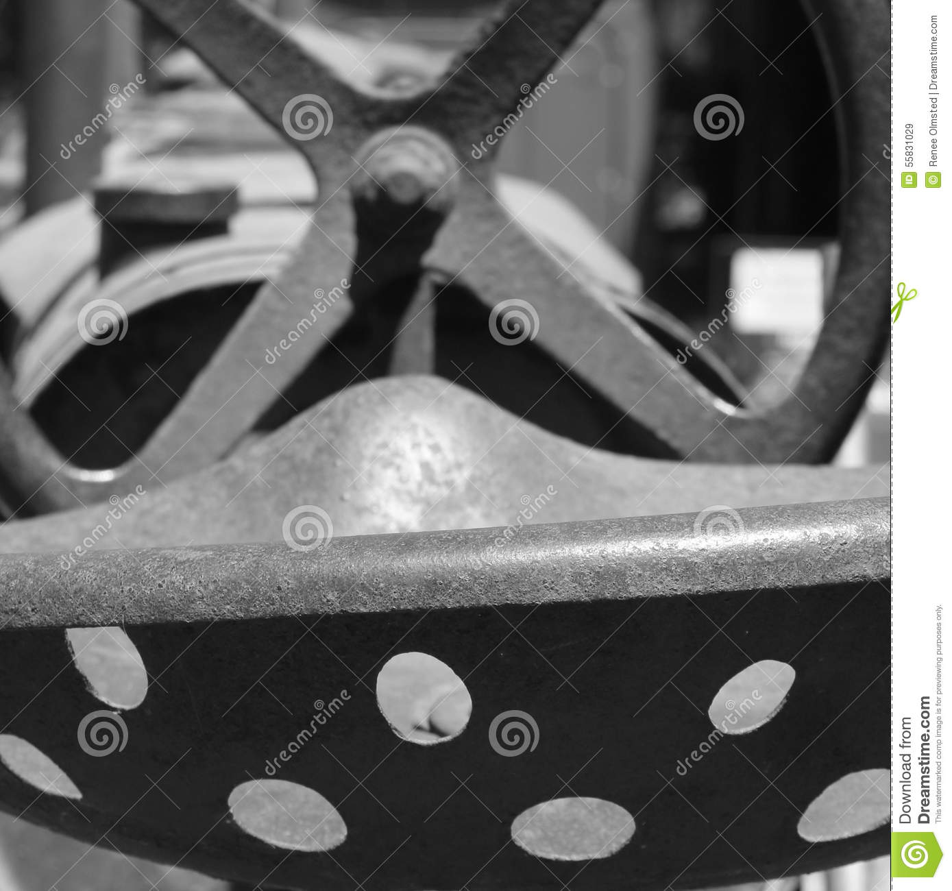 Metal Tractor Seat With Wheels : Vintage metal tractor seat and steering wheel stock image