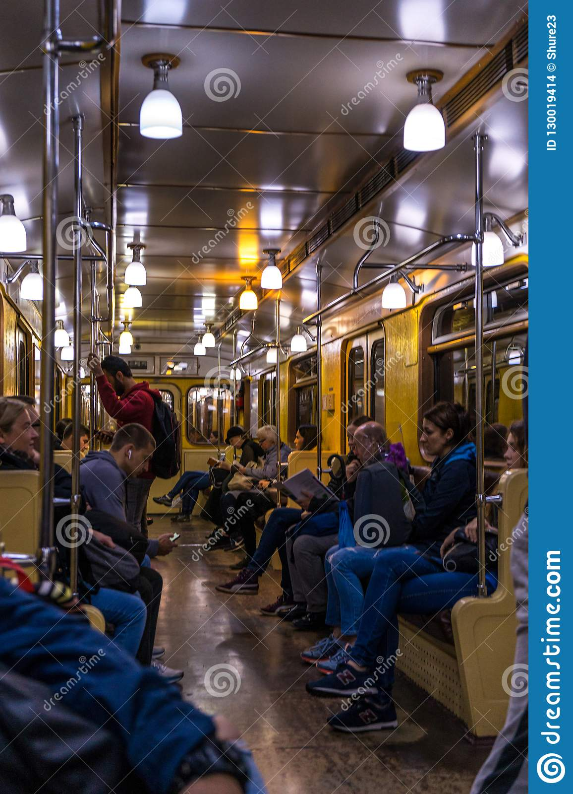Vintage metro wagon in service on an ordinary metro line in Russian capital city metro