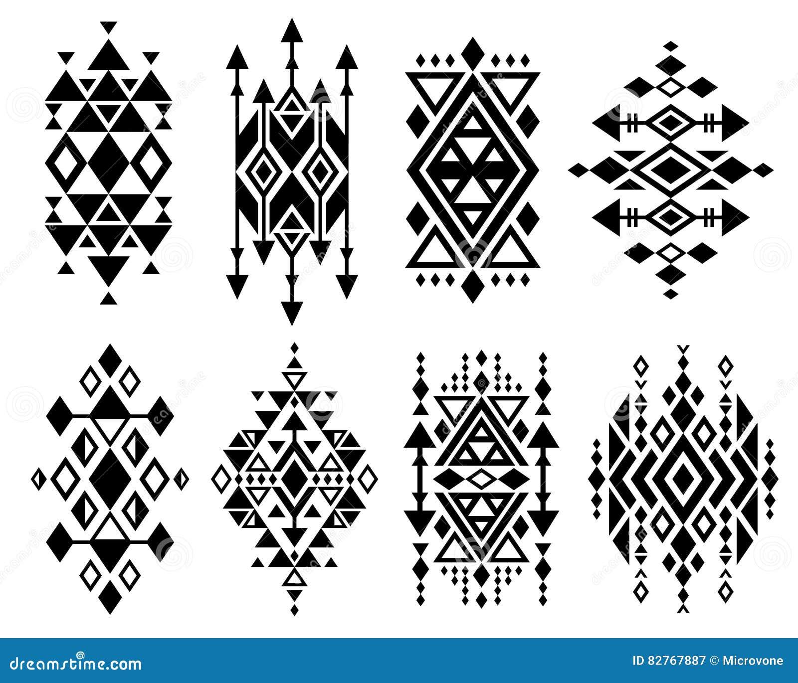 fb455655bc747 Vintage mexican aztec tribal traditional vector logo design, navajo prints  set. Decoration traditional aztec design, ilustration of geometric aztec  tribal ...