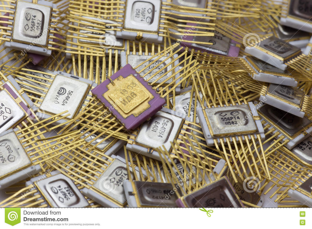 Vintage Microchip Military Electronics Goldplated Stock Photo Old Dirty Circuit Board With Transistors And Microchips For Use As A Logic