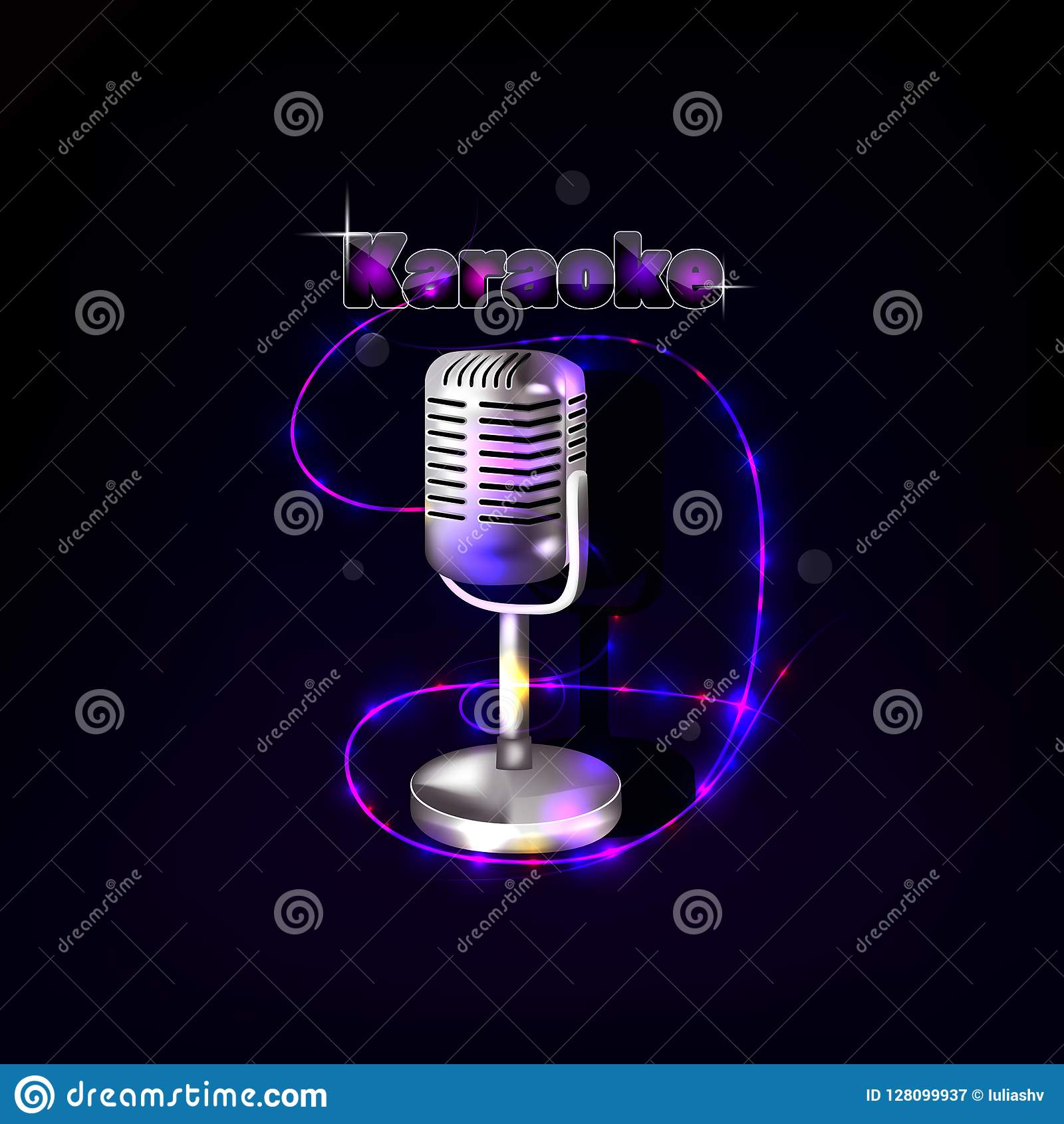 Vintage microphone on dark background.