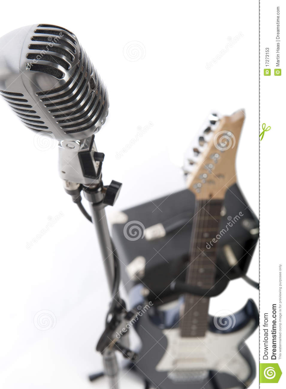 Vintage Microphone Electric Guitar And Amp Stock Image Of Mic Amplifier