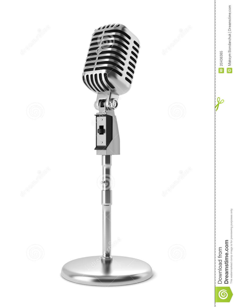 Vintage Microphone On Stand Isolated On White Stock