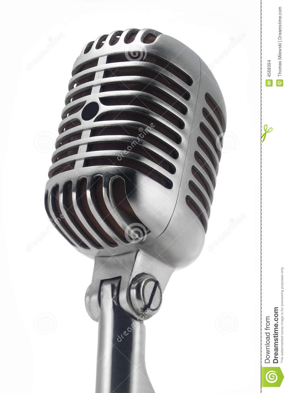 Line Art Microphone : Vintage microphone on white stock photo image