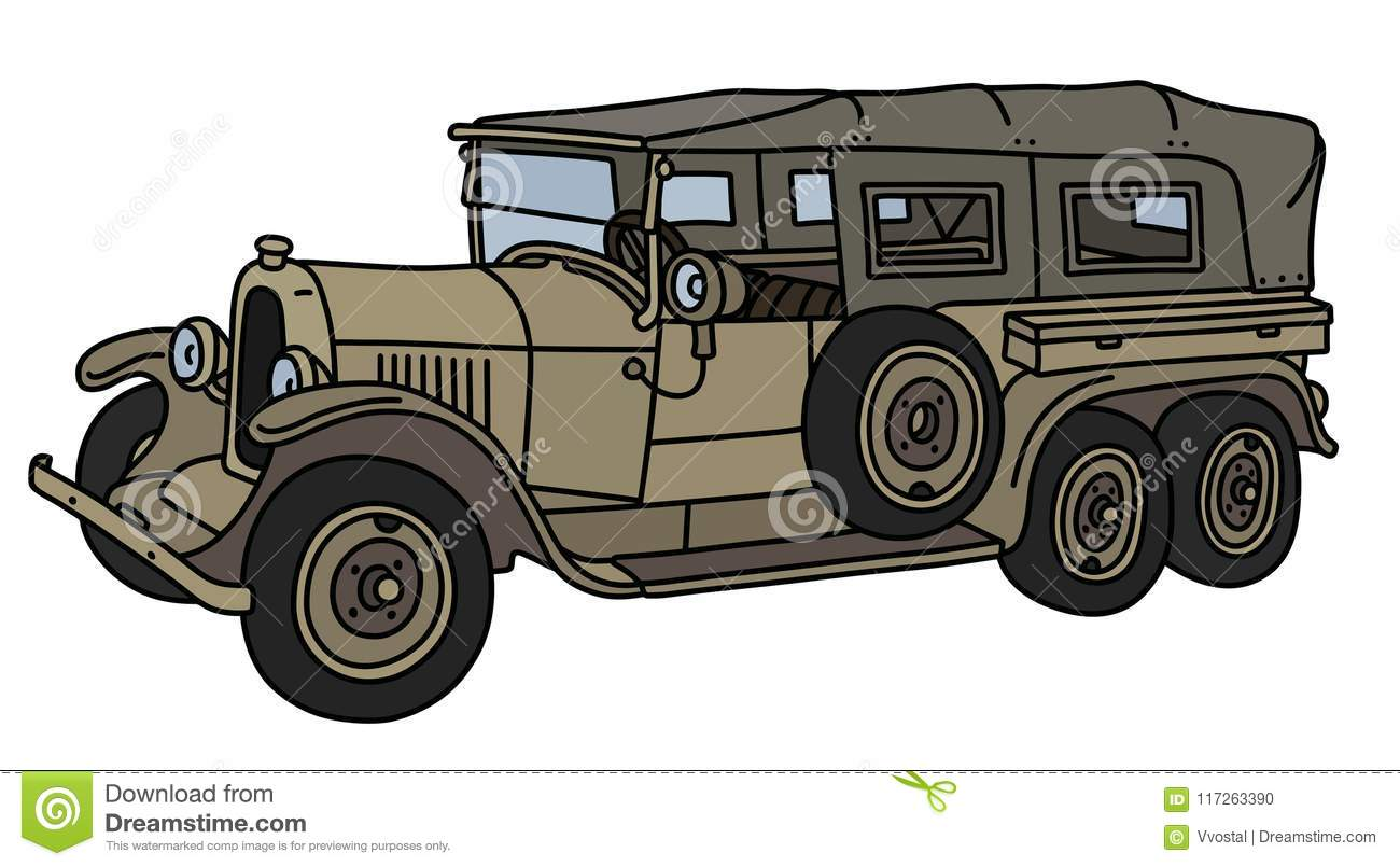 The Vintage Military Long Car Stock Vector - Illustration of