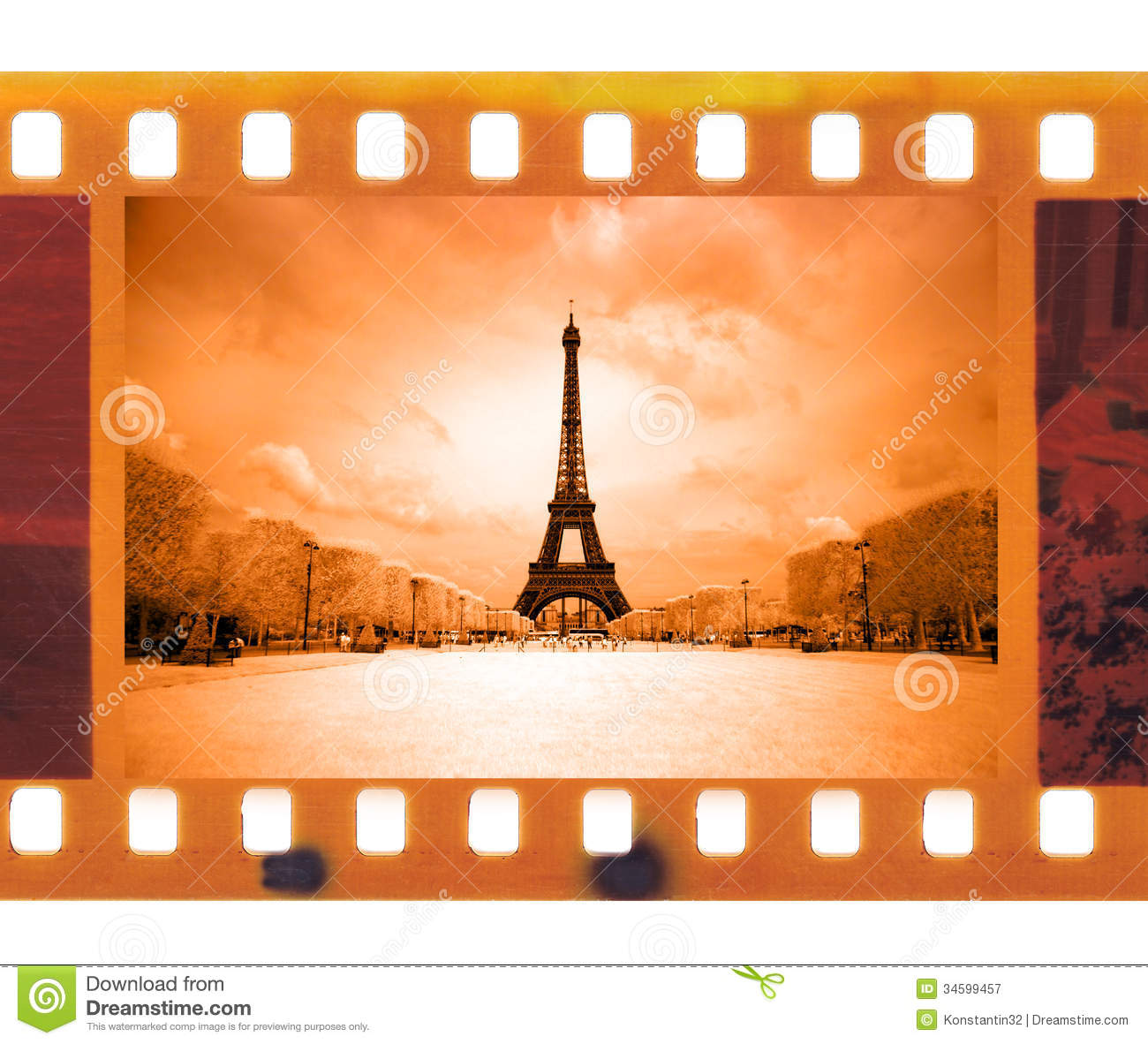Vintage 35mm Frame Photo Film With Eiffel Tower In Paris