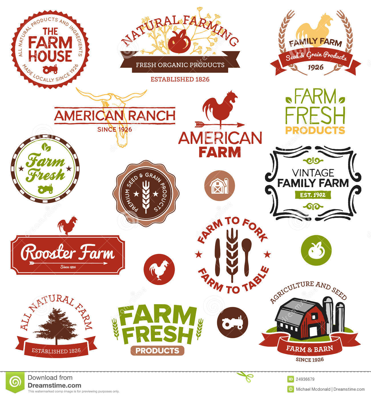 Vintage And Modern Farm Labels Stock Vector